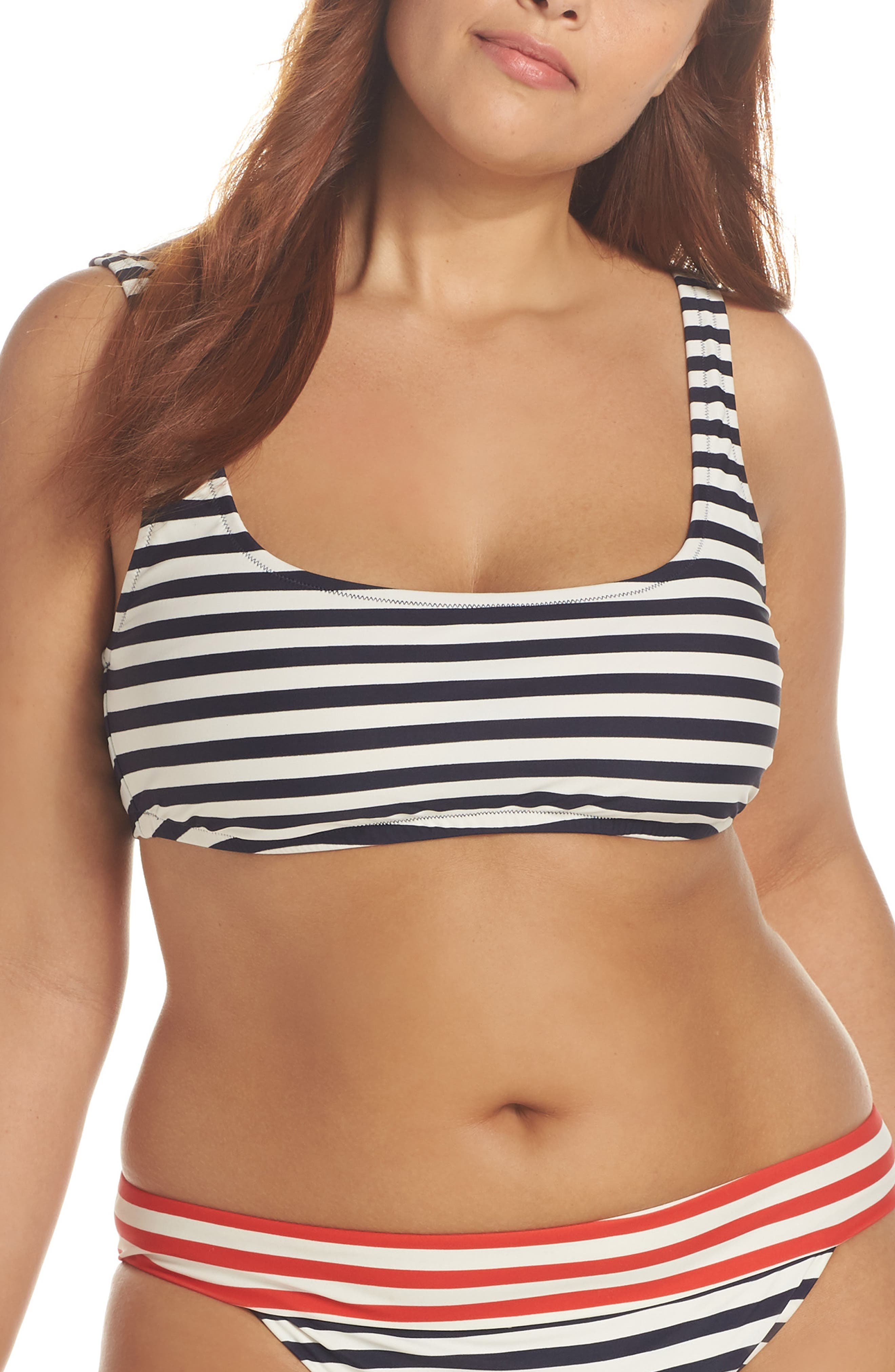 Stripe Scoop Bikini Top,                         Main,                         color, NAVY IVORY