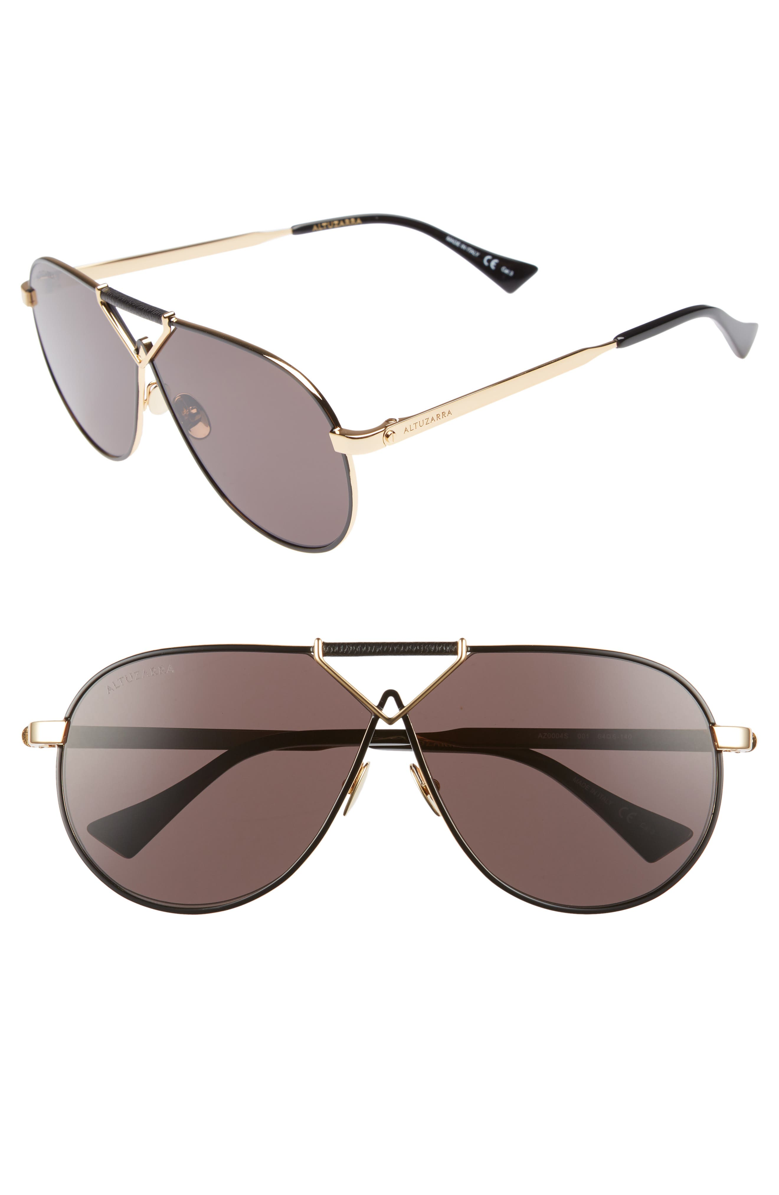 ALTUZARRA,                             64mm Aviator Sunglasses,                             Main thumbnail 1, color,                             BLACK/ GOLD