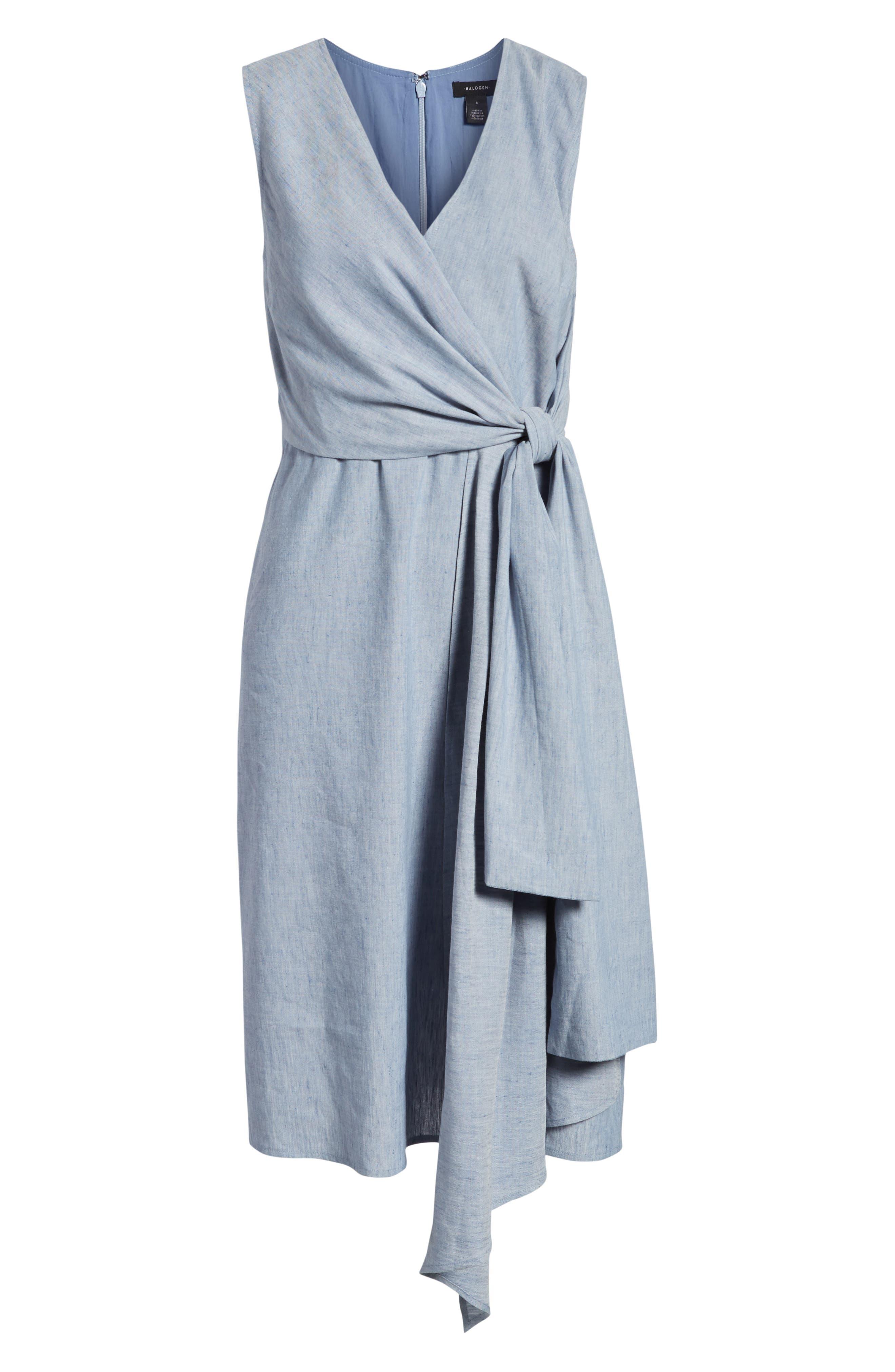 Tie Front Chambray Linen Blend Dress,                             Alternate thumbnail 7, color,                             400
