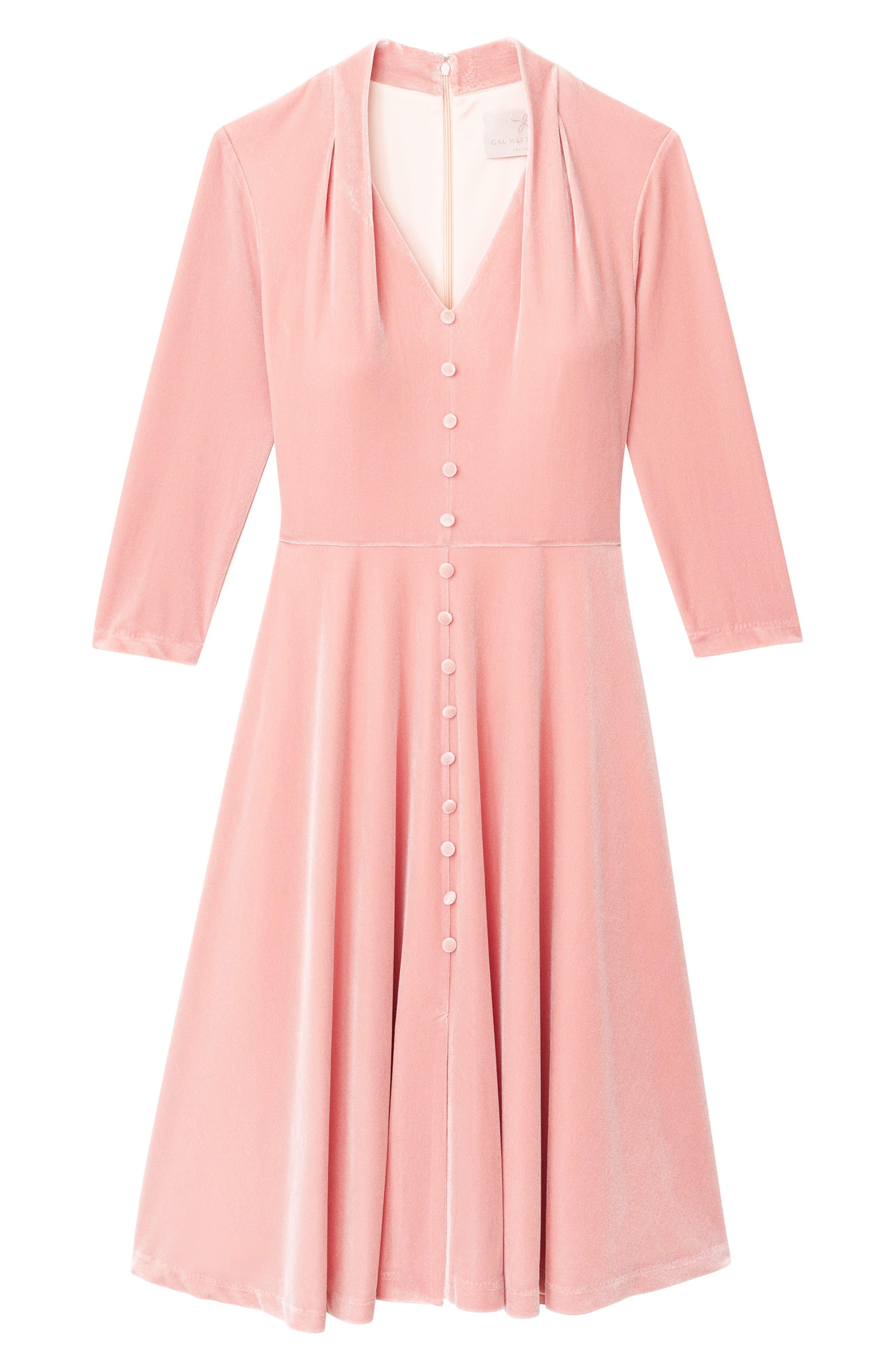 Joy Button Front Velvet Dress,                             Alternate thumbnail 4, color,                             PINK