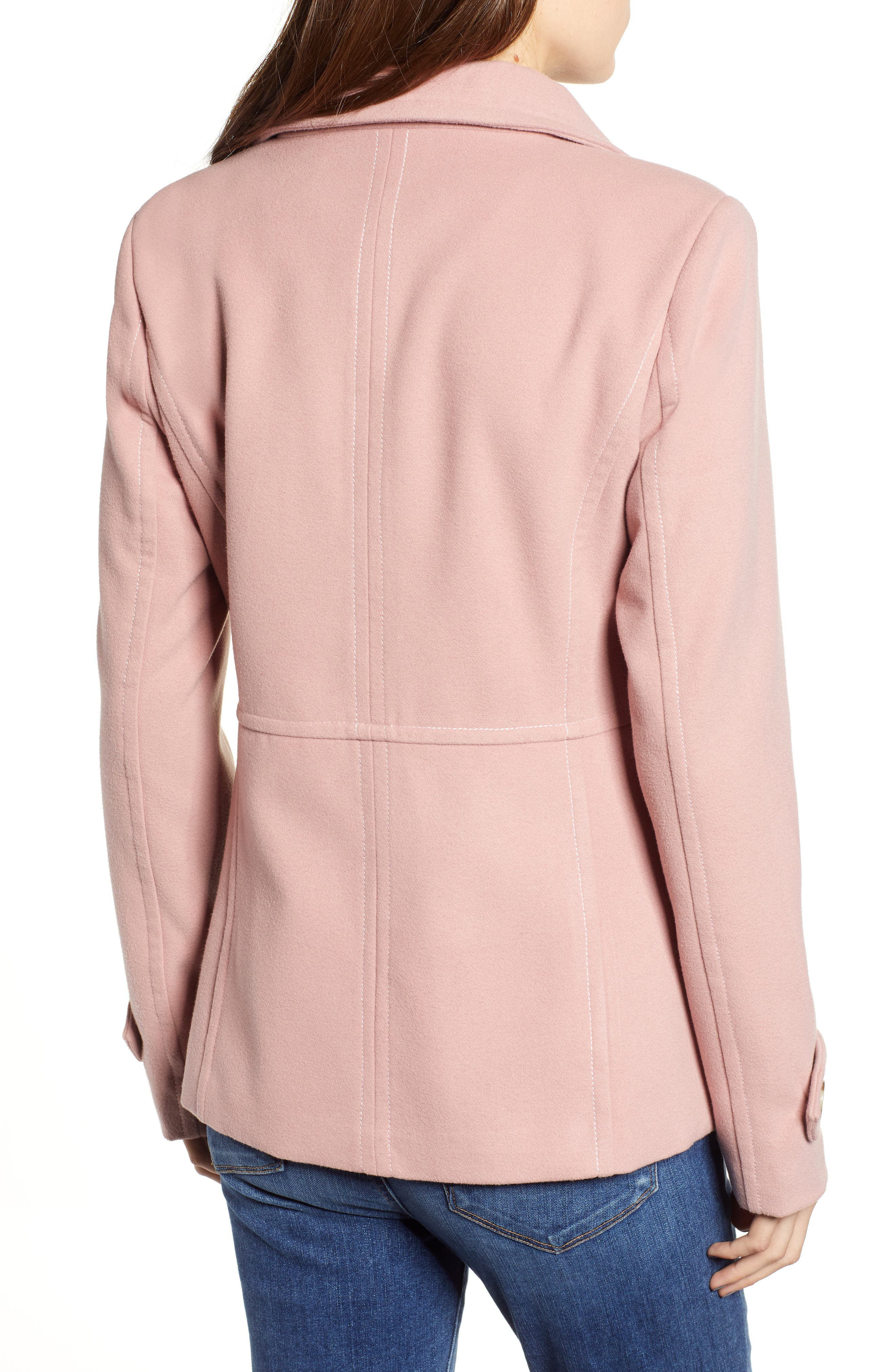 THREAD & SUPPLY,                             Double Breasted Peacoat,                             Alternate thumbnail 2, color,                             BLUSH