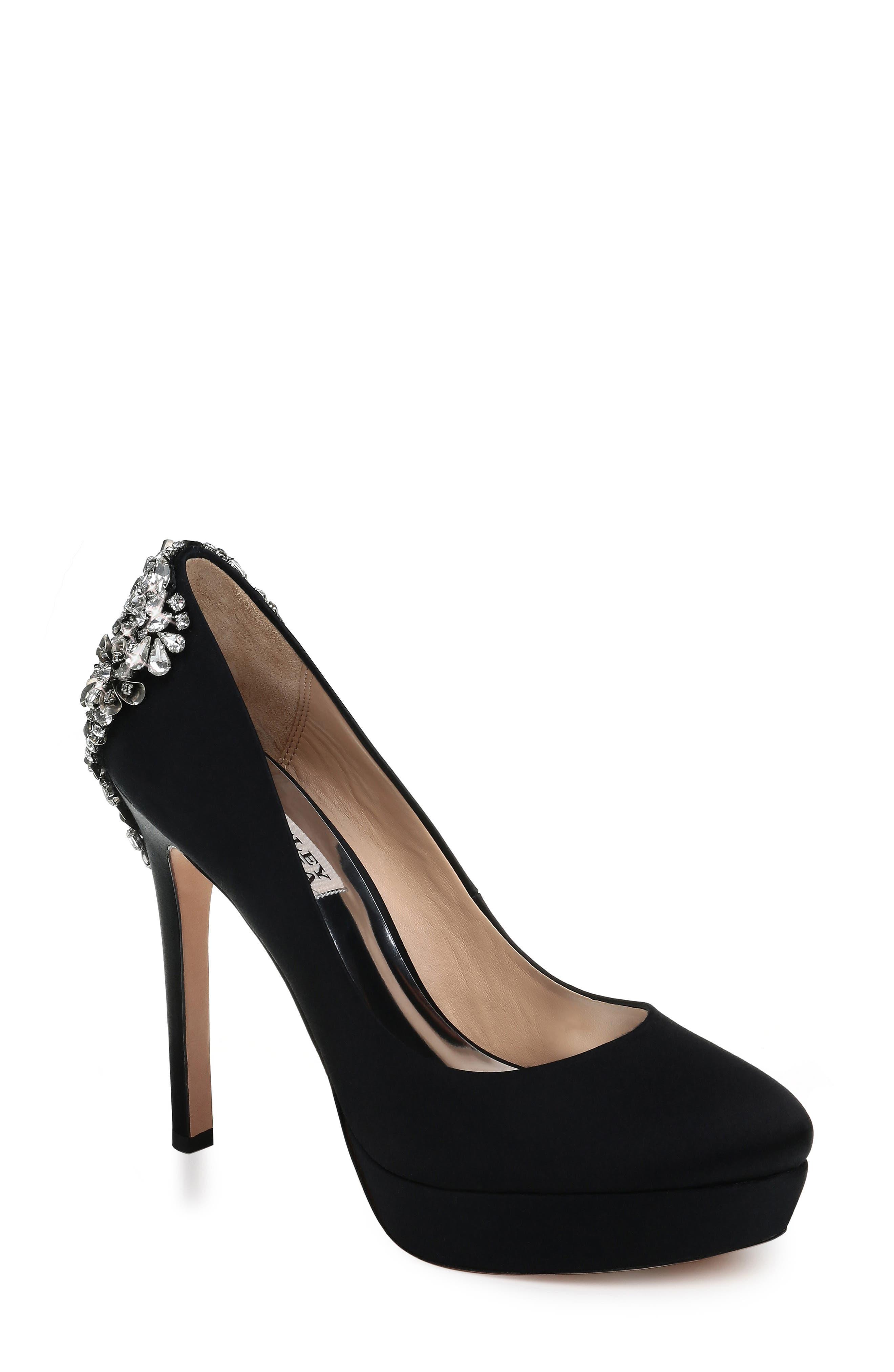 Women'S Viola Almond Toe Embellished Satin Platform High-Heel Pumps in Black Satin