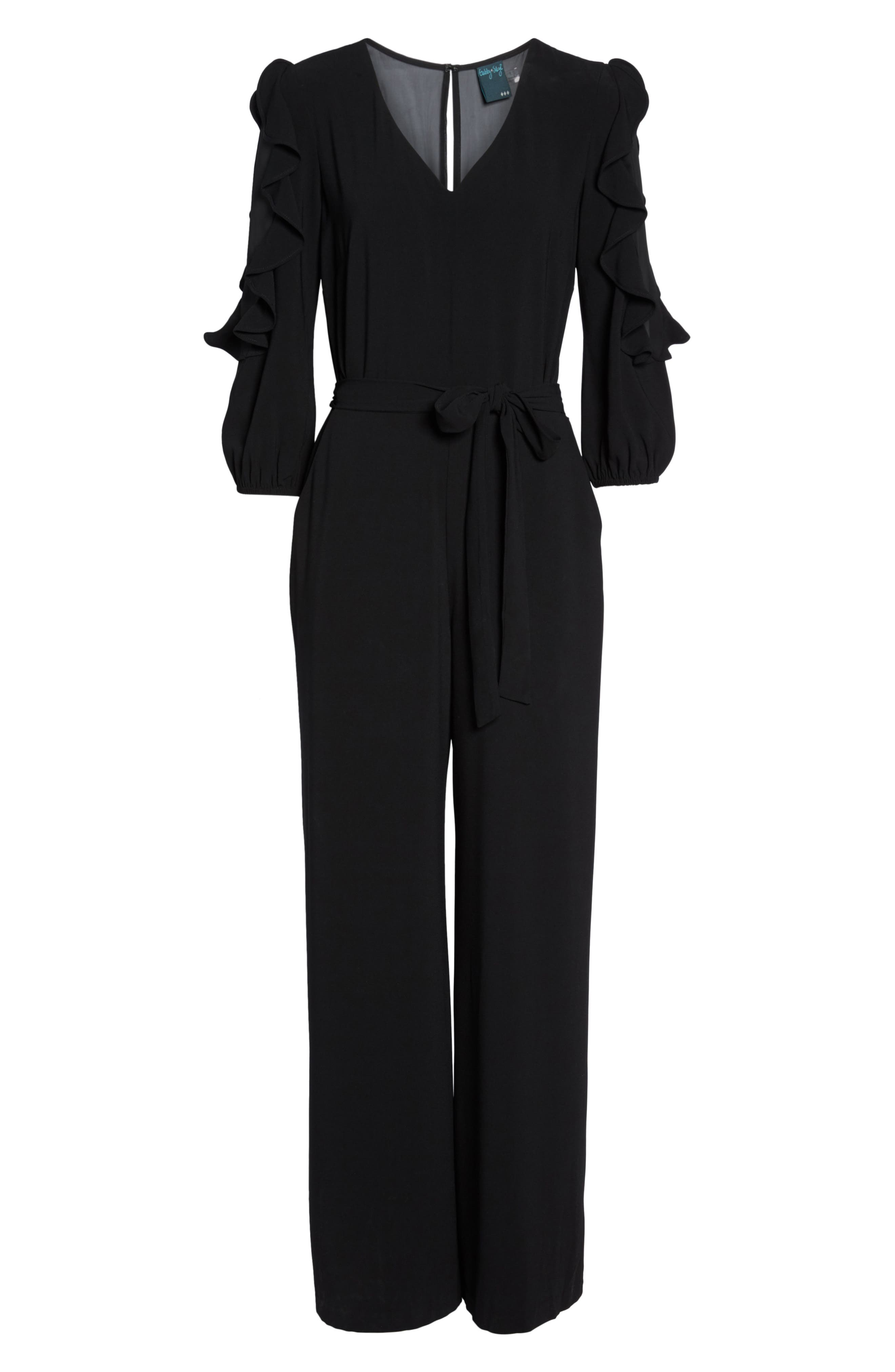 Tiered Sleeve Jumpsuit,                             Alternate thumbnail 6, color,                             001