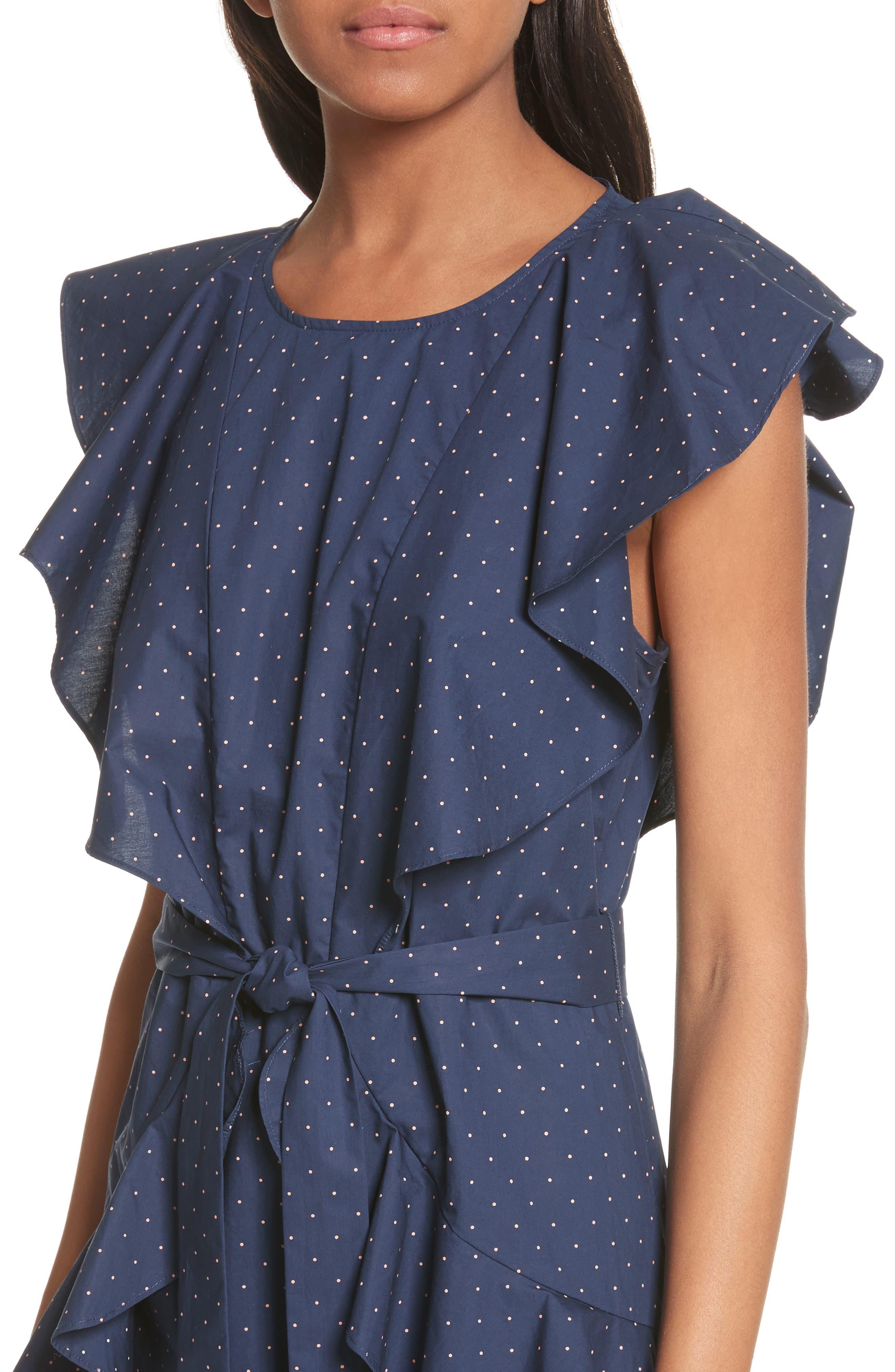 Malachy Ruffle Dot Cotton Dress,                             Alternate thumbnail 4, color,