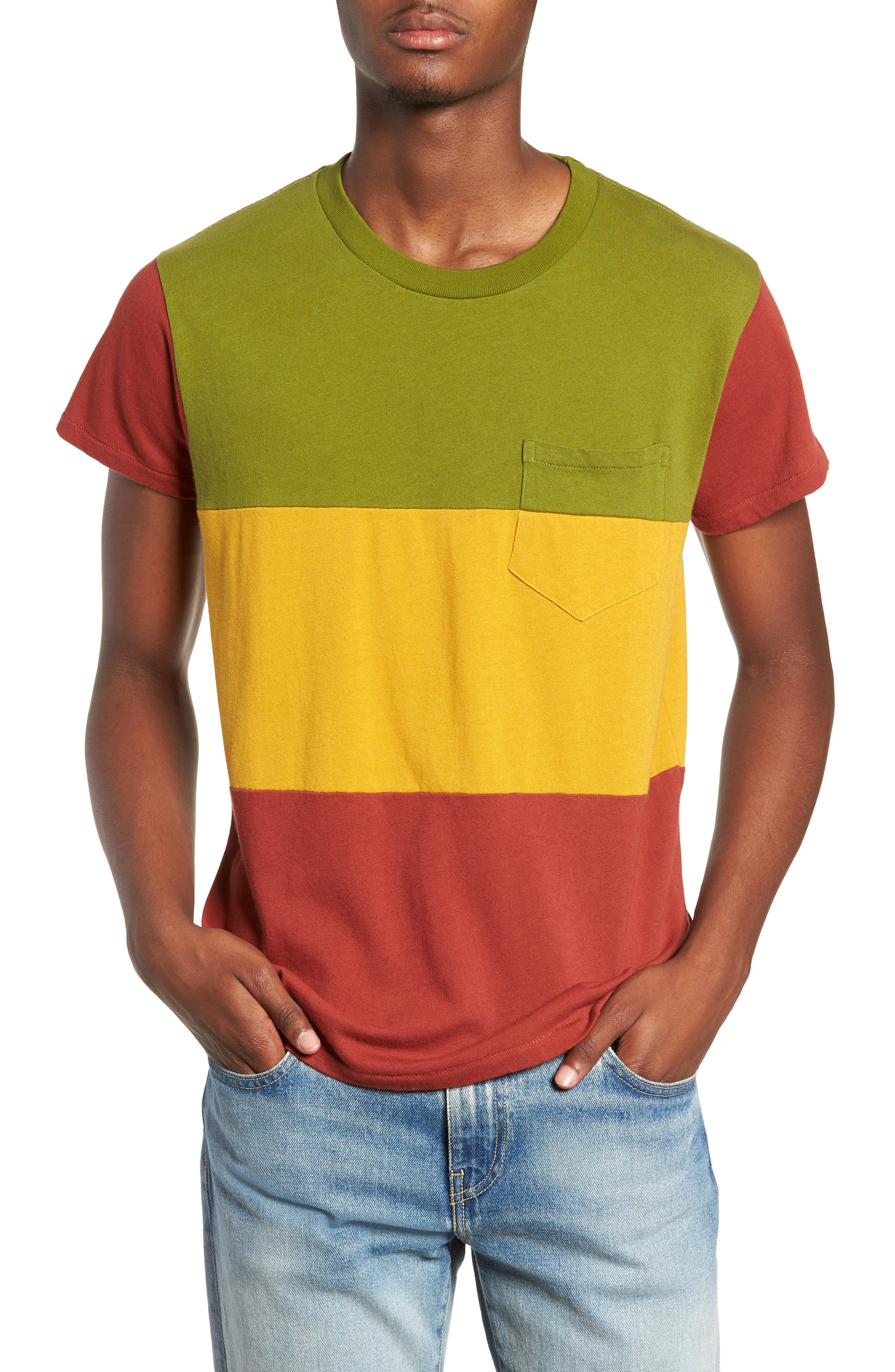1950s Slim Fit Colorblock T-Shirt,                         Main,                         color, 3 WAY MULTI STRIPE