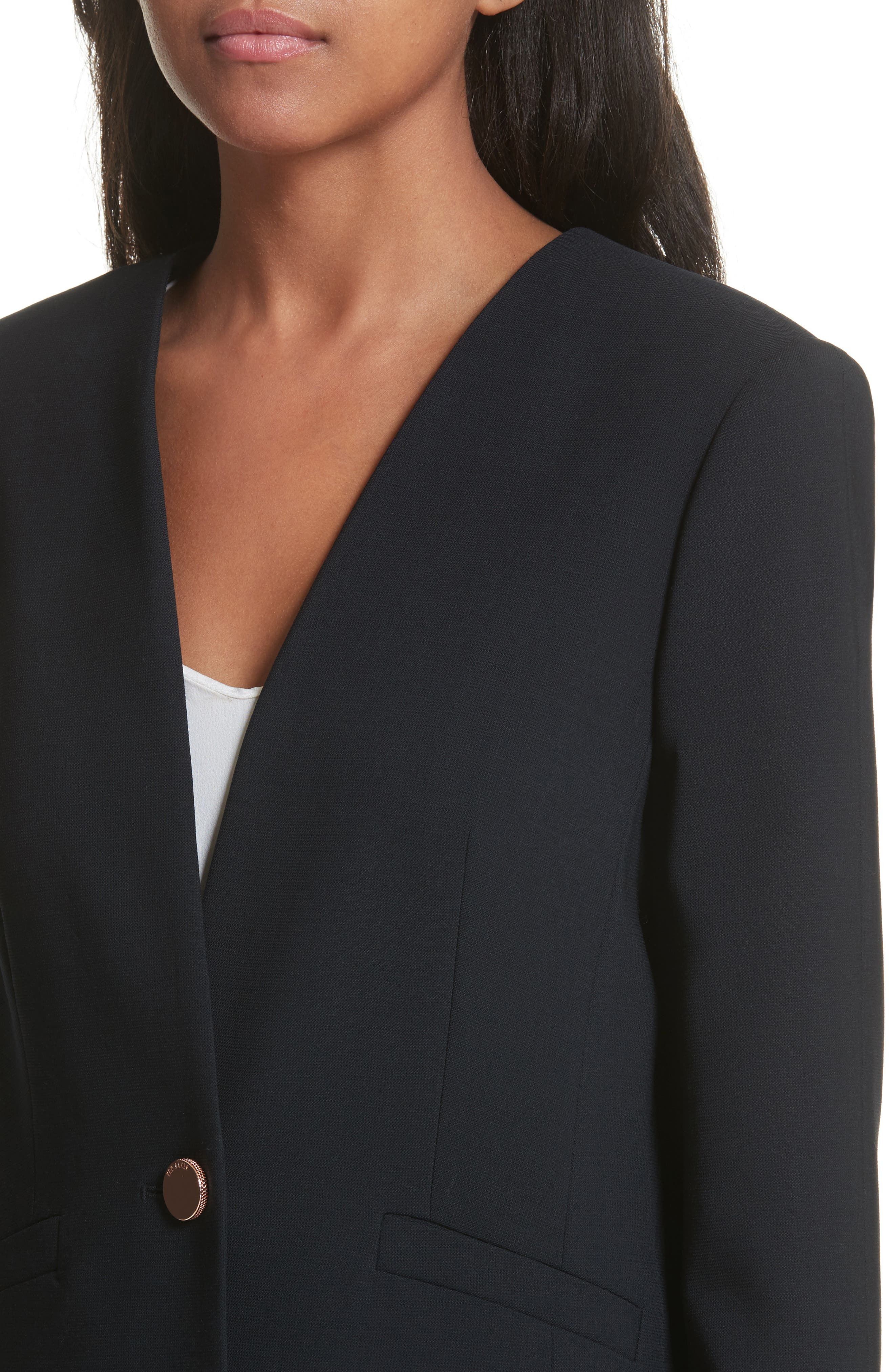 TED BAKER LONDON,                             Ted Working Title Collarless Stretch Wool Jacket,                             Alternate thumbnail 4, color,                             410