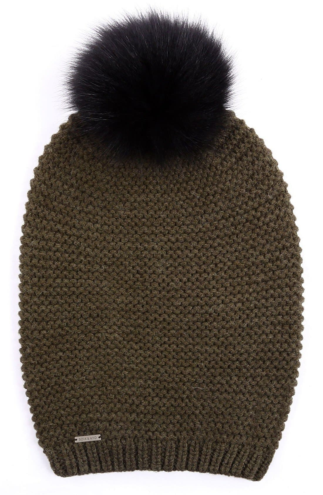 Slouchy Knit Beanie with Genuine Fox Fur Pompom,                             Main thumbnail 5, color,