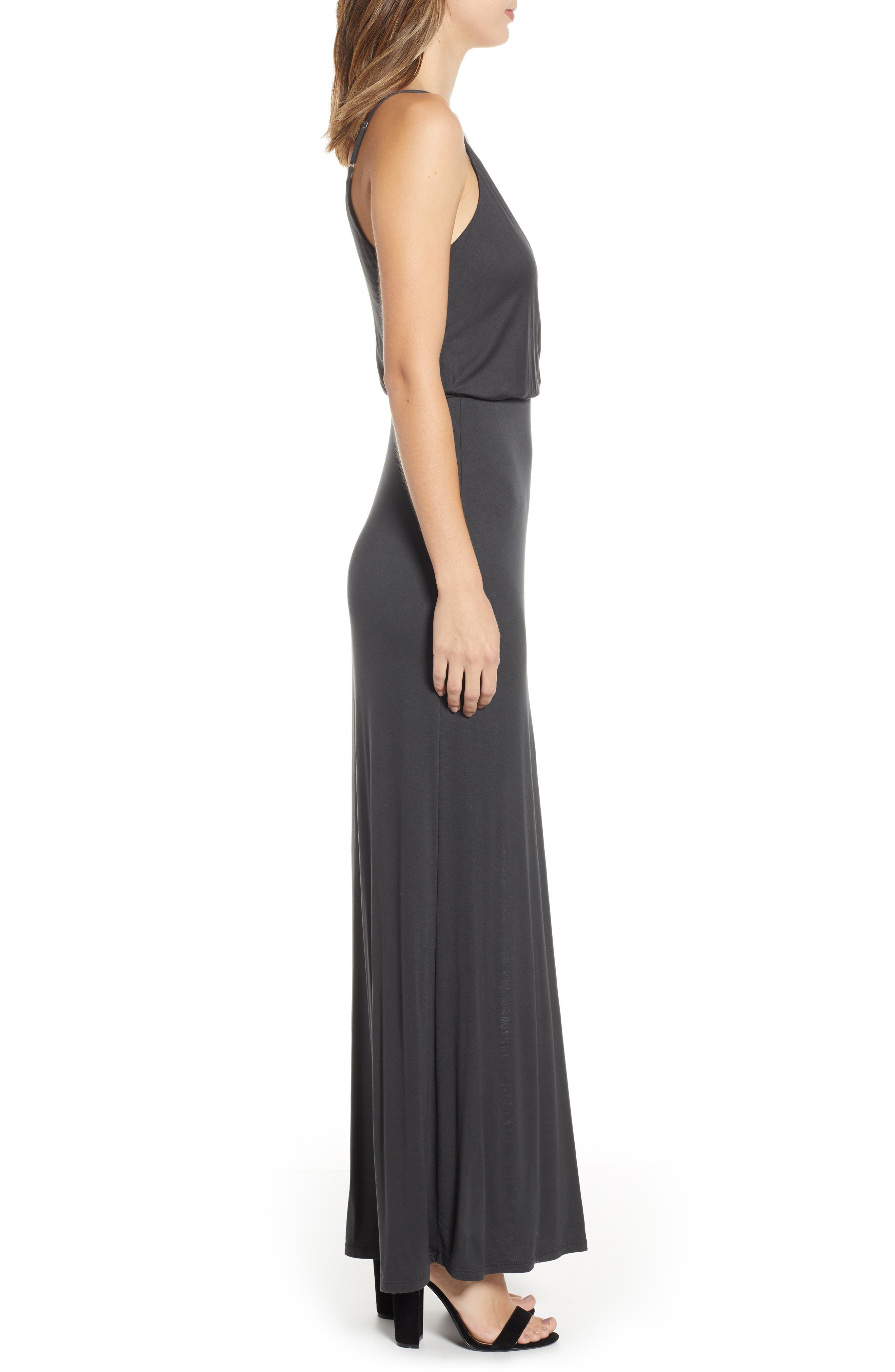 ALL IN FAVOR,                             Surplice Neck Knit Maxi Dress,                             Alternate thumbnail 3, color,                             CHARCOAL