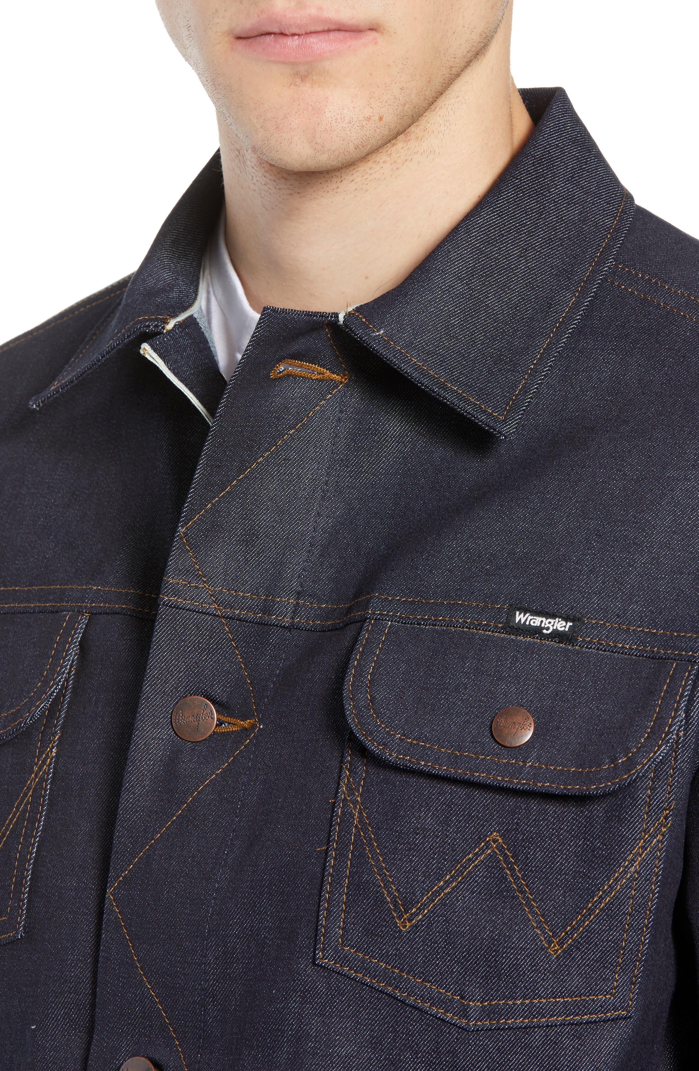 Heritage Denim Jacket,                             Alternate thumbnail 4, color,                             SELEVDGE RAW