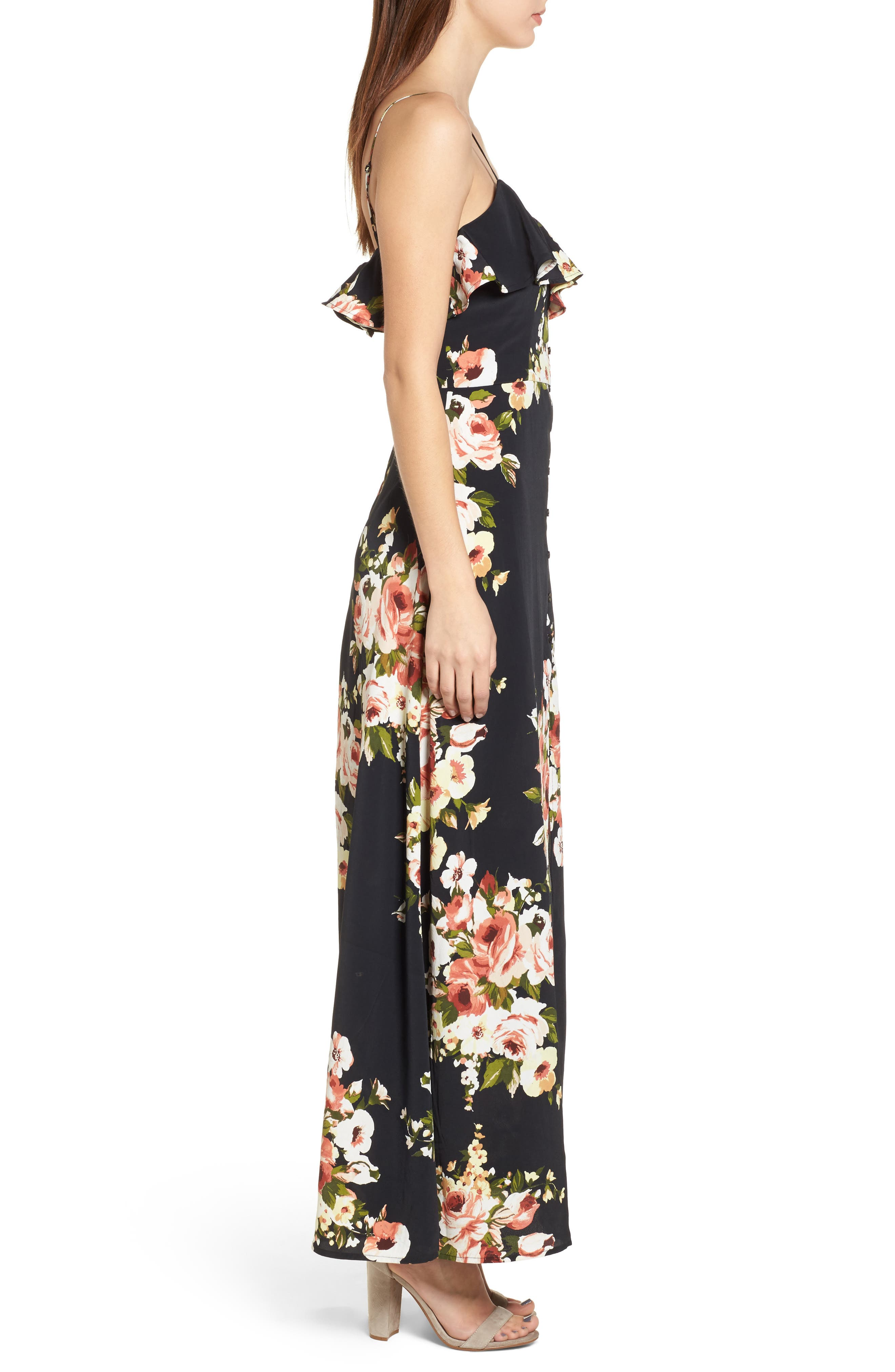 Floral Maxi Dress,                             Alternate thumbnail 3, color,                             010