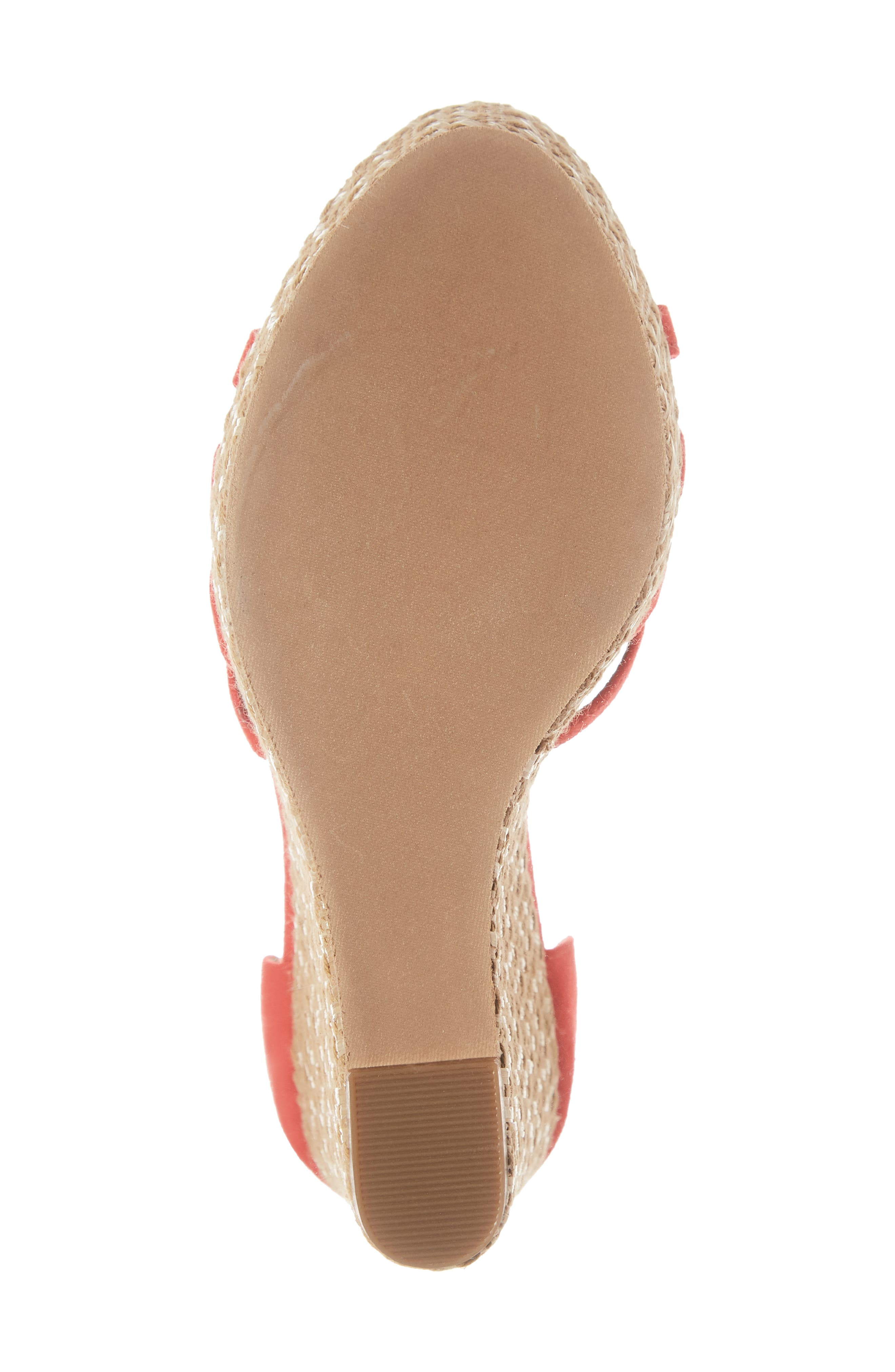 Scarlette Wedge Sandal,                             Alternate thumbnail 6, color,                             RED FAUX SUEDE
