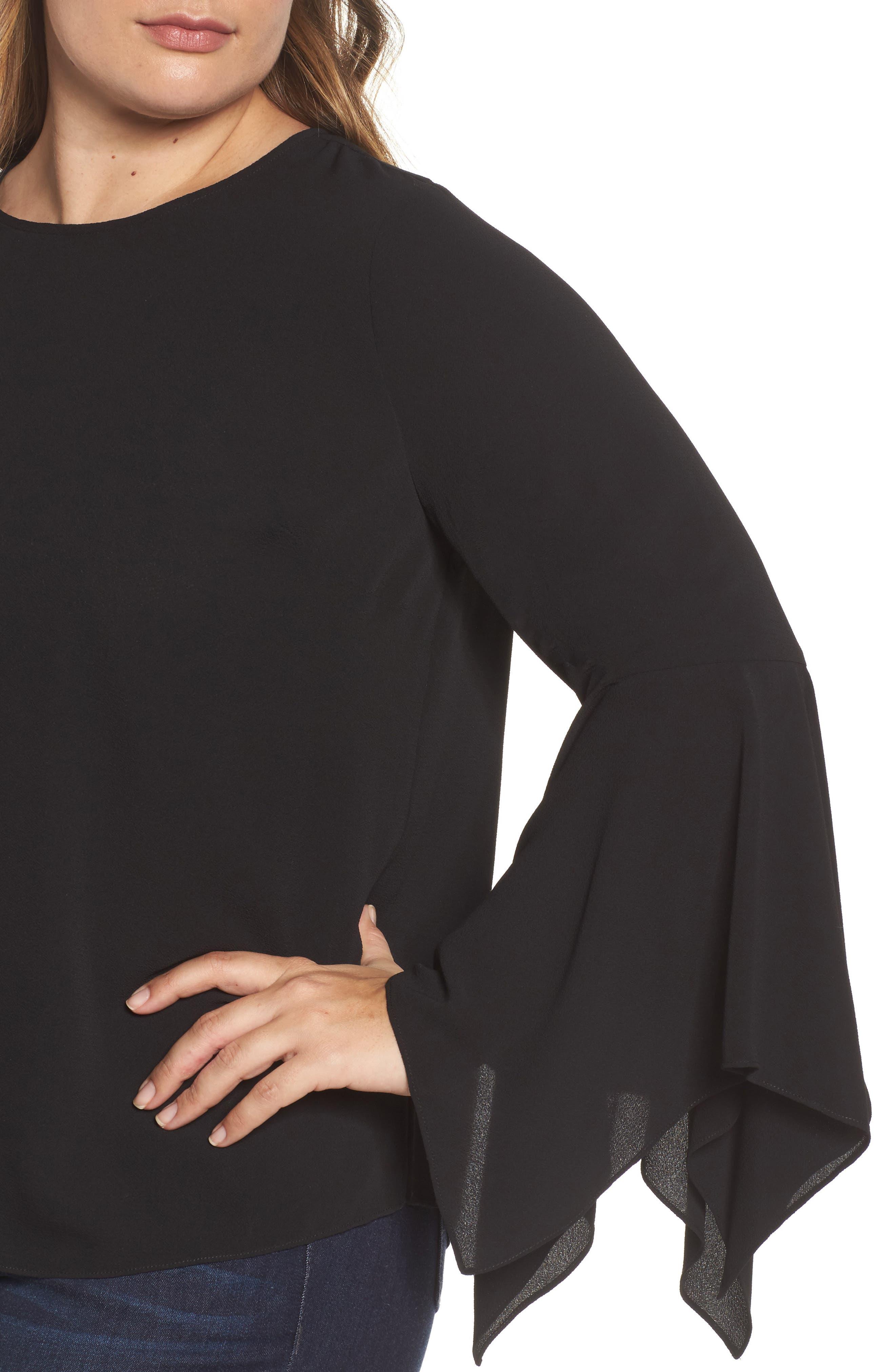 Handkerchief Sleeve Blouse,                             Alternate thumbnail 4, color,                             001