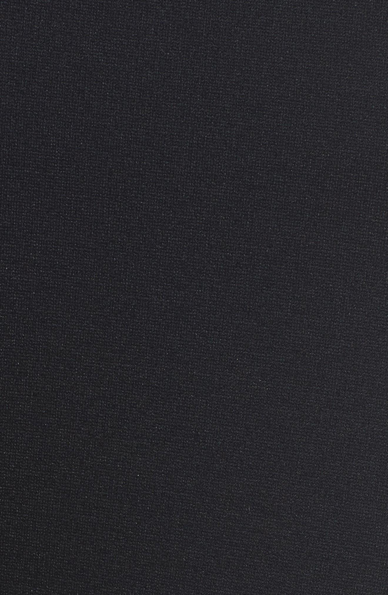 Faux Leather Chevron Panel Ponte Leggings,                             Alternate thumbnail 5, color,                             006