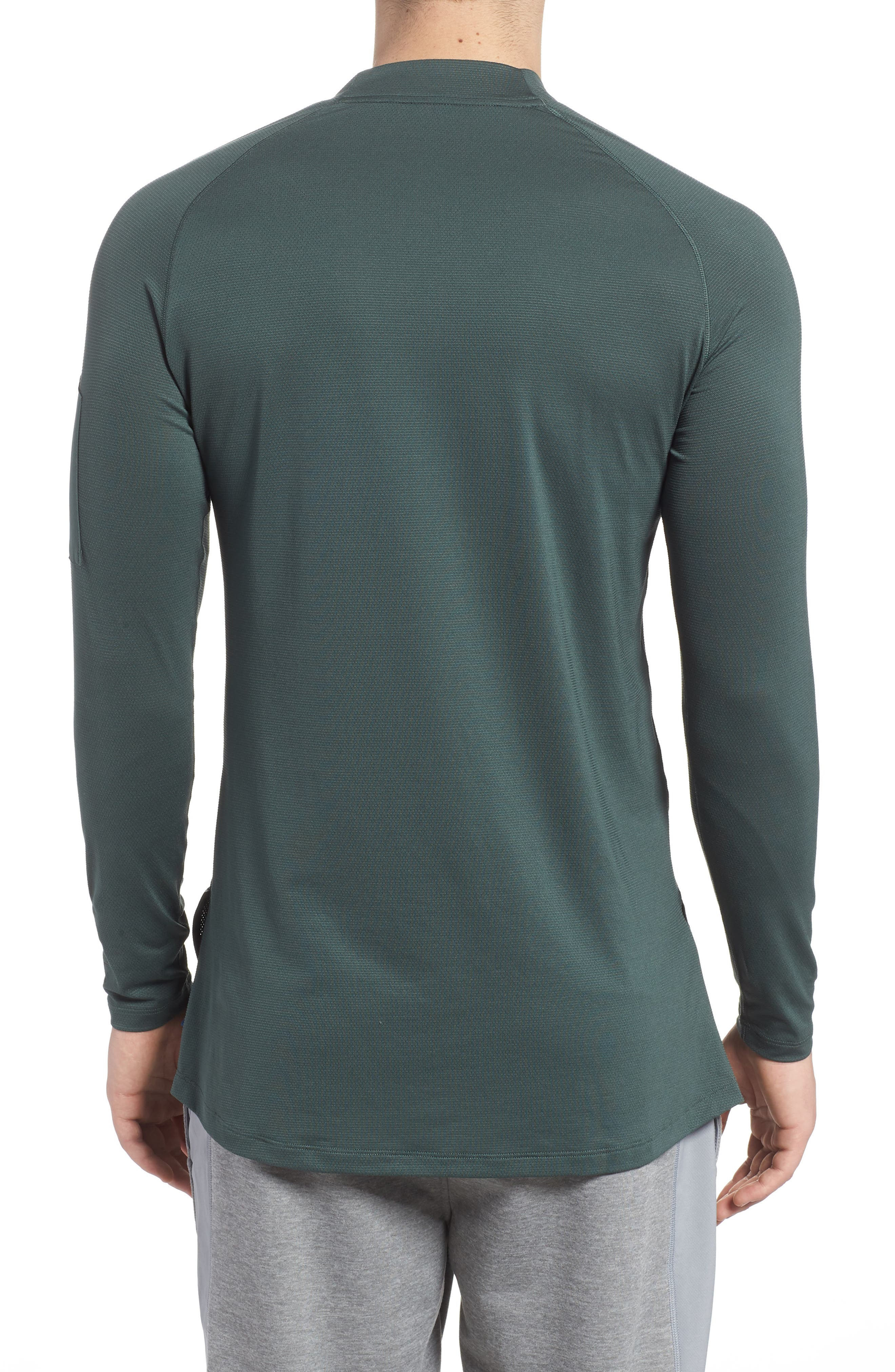 NIKE,                             Pro Fitted Utility Dry Tech Sport Top,                             Alternate thumbnail 2, color,                             VINTAGE GREEN/ BLACK