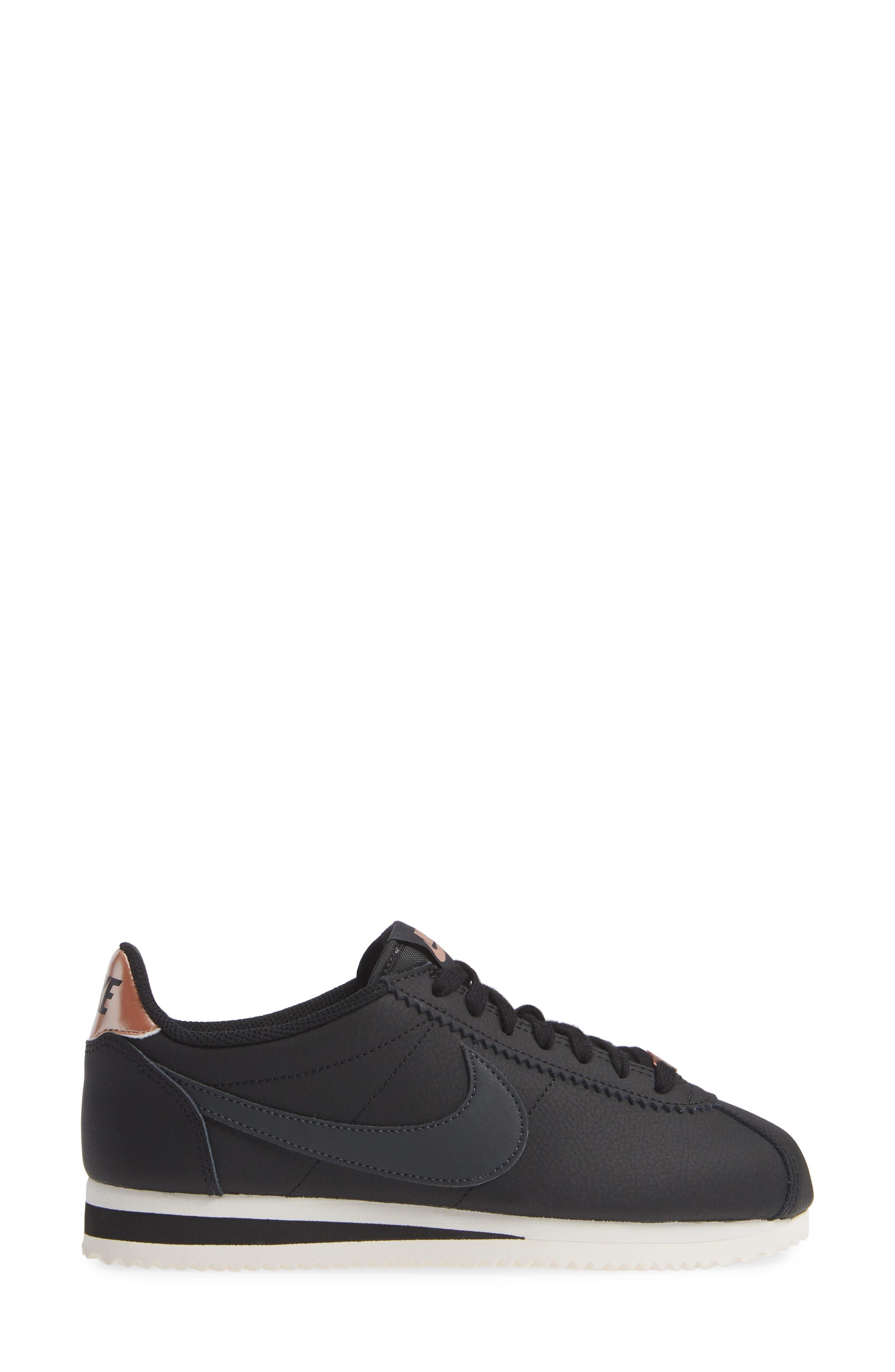 Classic Cortez Sneaker,                             Alternate thumbnail 3, color,                             BLACK/ METALLIC RED BRONZE