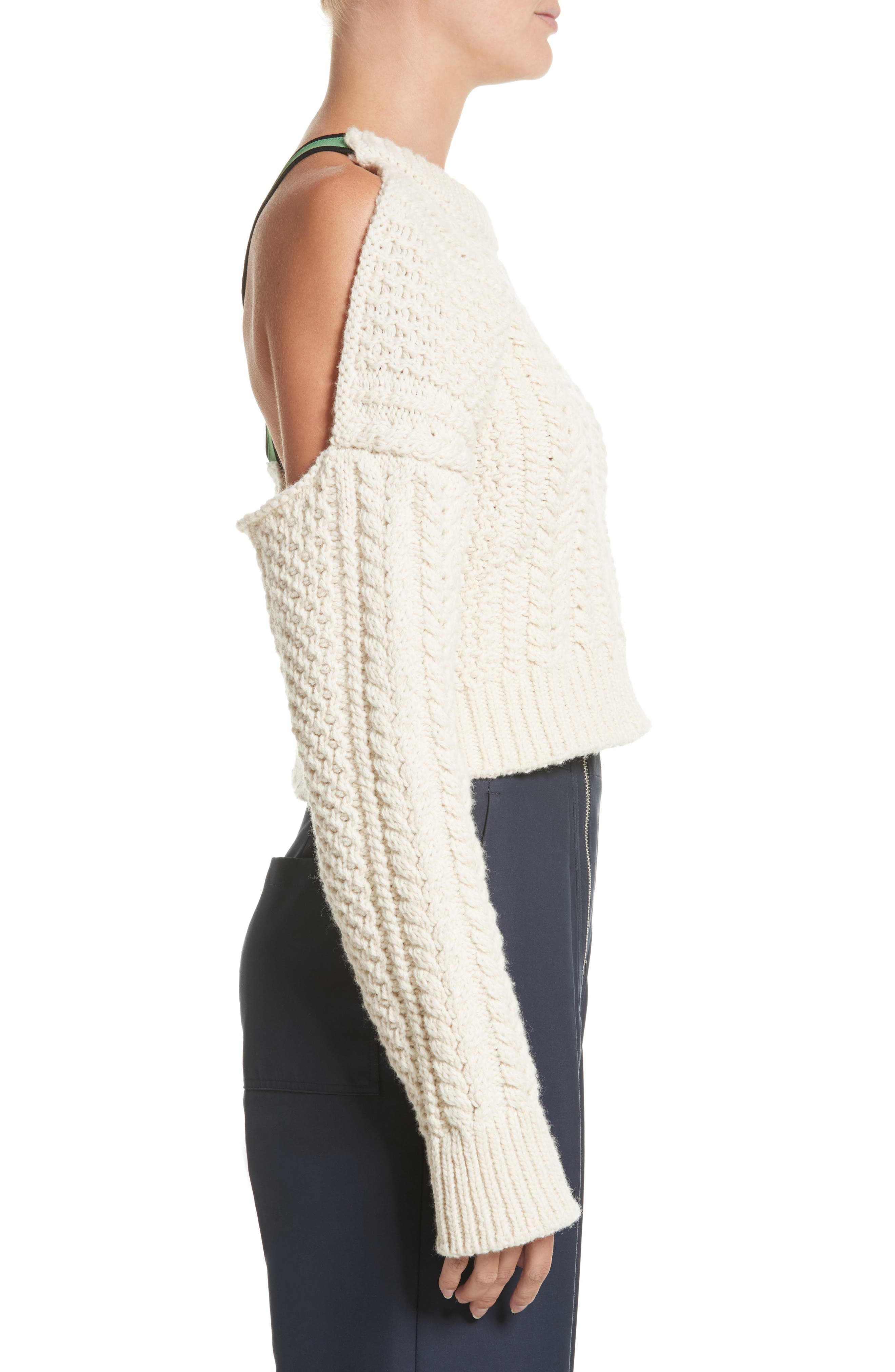 Back Strap Cable Knit Crop Sweater,                             Alternate thumbnail 3, color,                             900