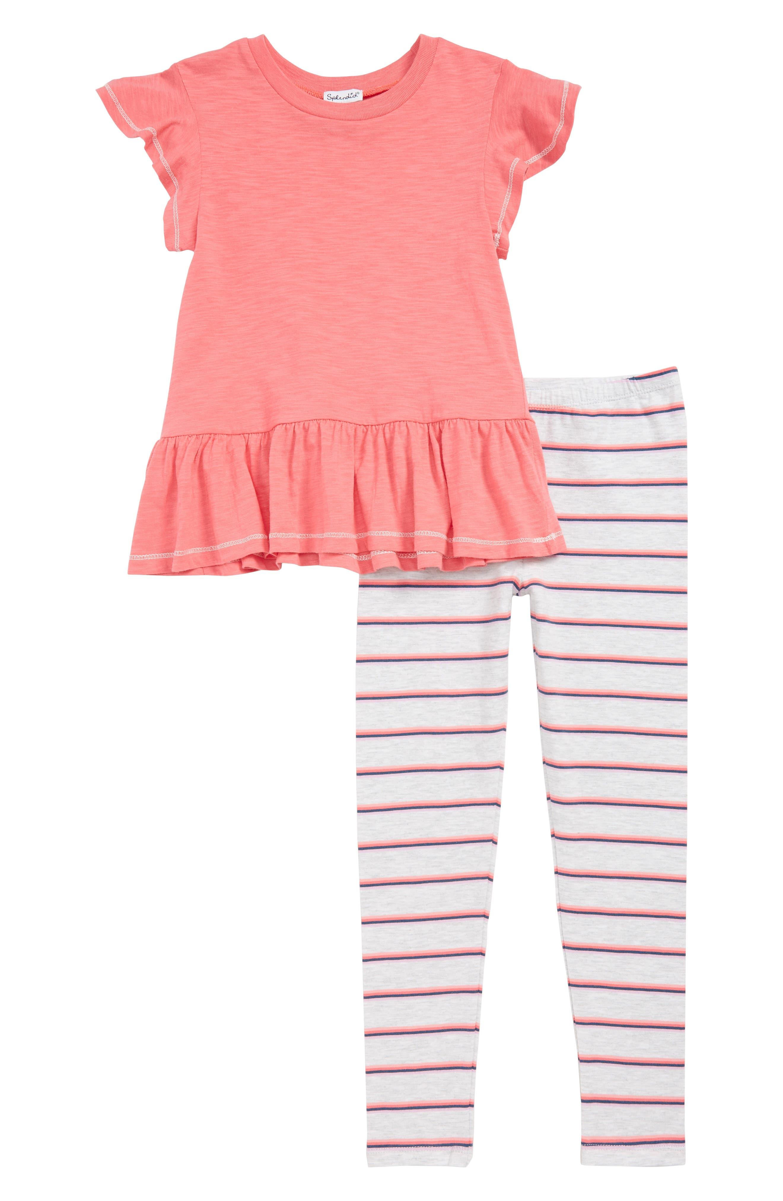 Toddler Girls Splendid Peplum Top  Stripe Leggings Set