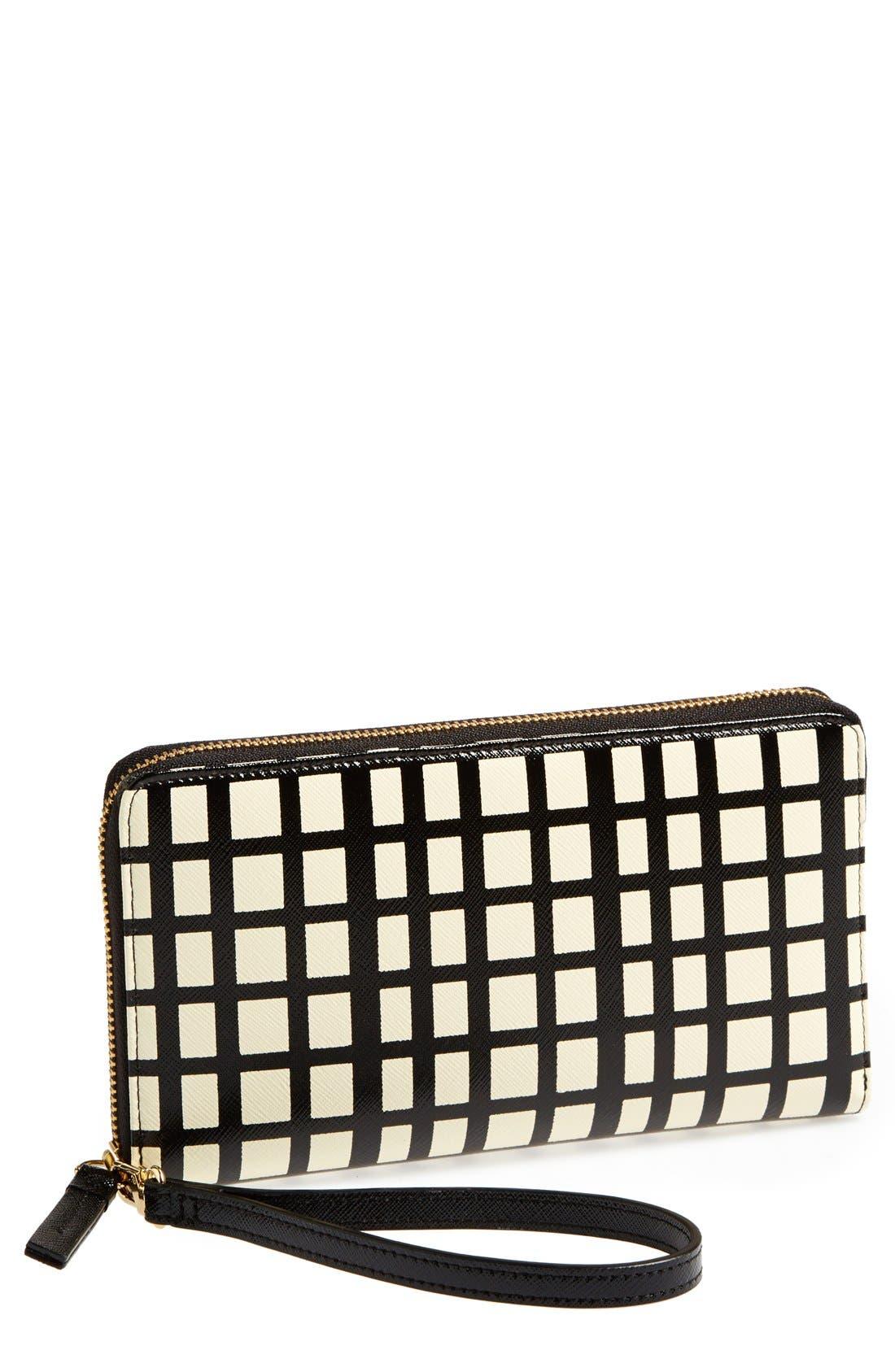 HALOGEN<SUP>®</SUP> Leather Zip Around Wallet, Main, color, 001