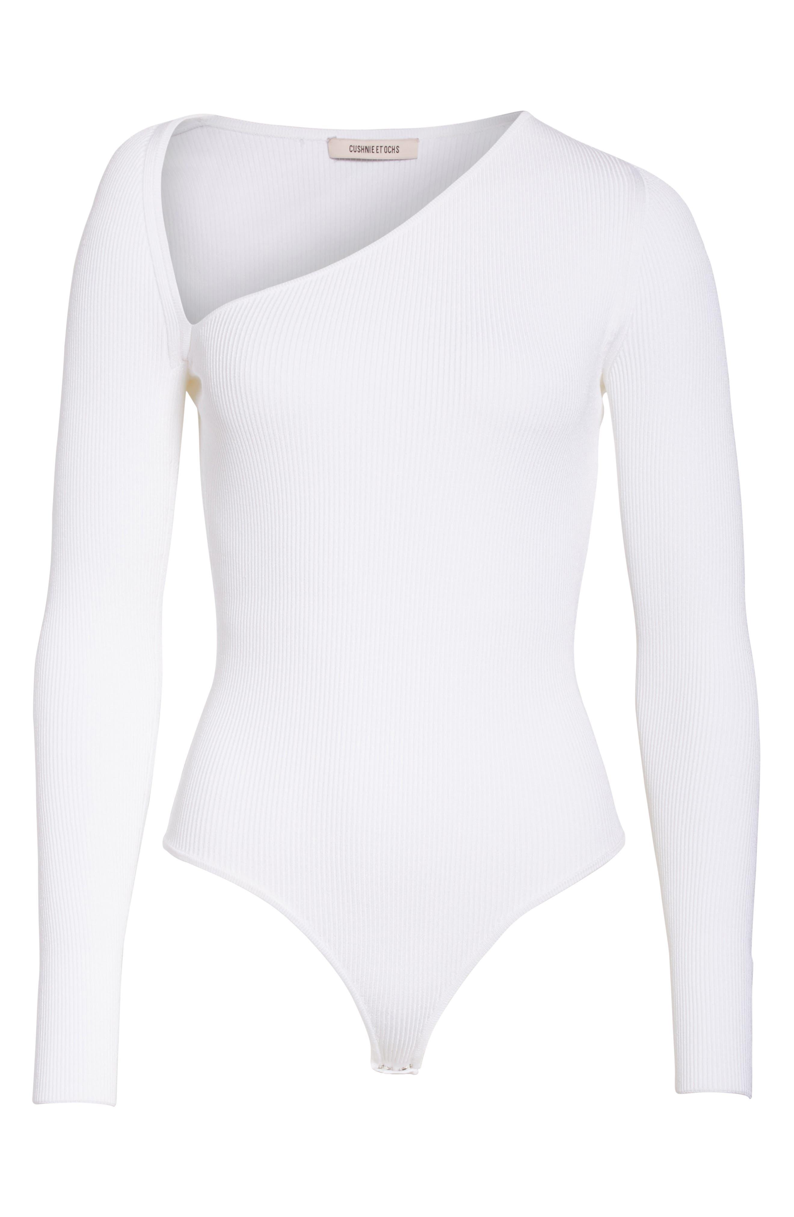 Vivian Asymmetrical Neck Knit Bodysuit,                             Alternate thumbnail 6, color,                             101