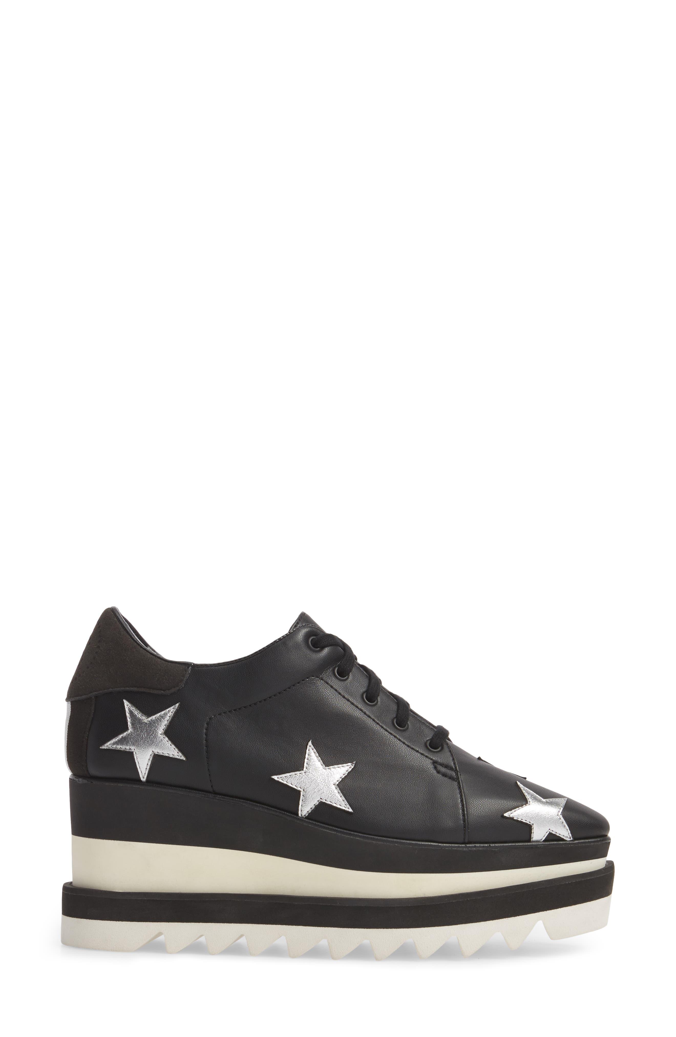 Elyse Platform Sneaker,                             Alternate thumbnail 3, color,                             BLACK