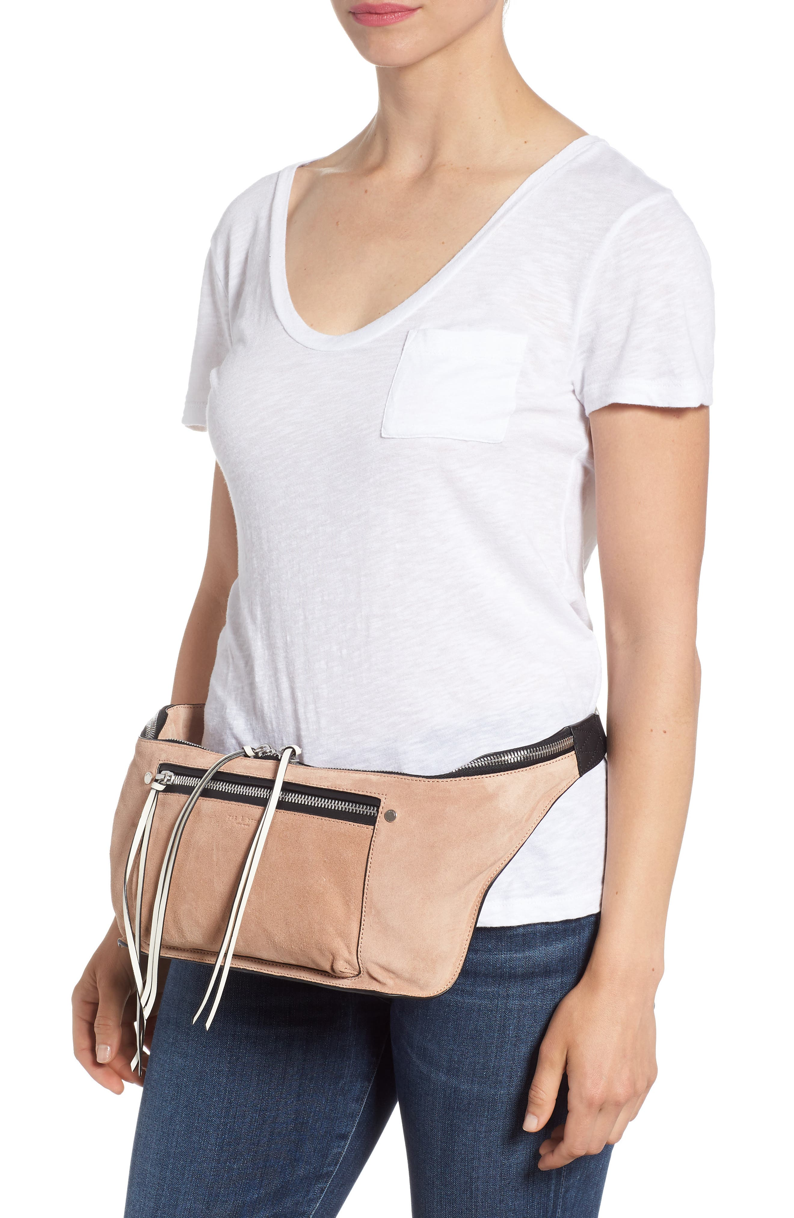 Elliot Leather Fanny Pack,                             Alternate thumbnail 2, color,                             NUDE SUEDE