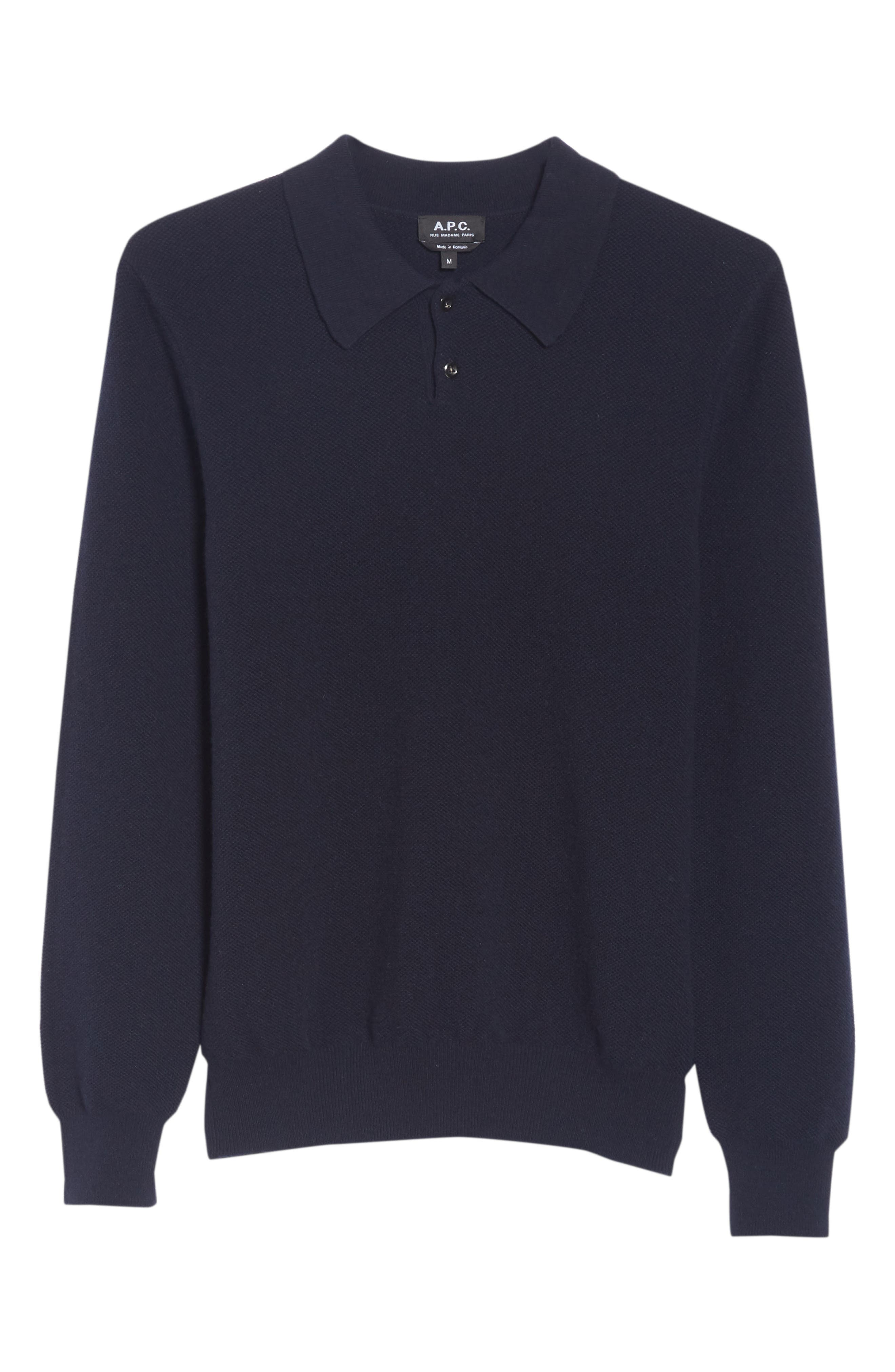 Wool & Cashmere Long Sleeve Polo,                             Alternate thumbnail 6, color,                             IAK NAVY