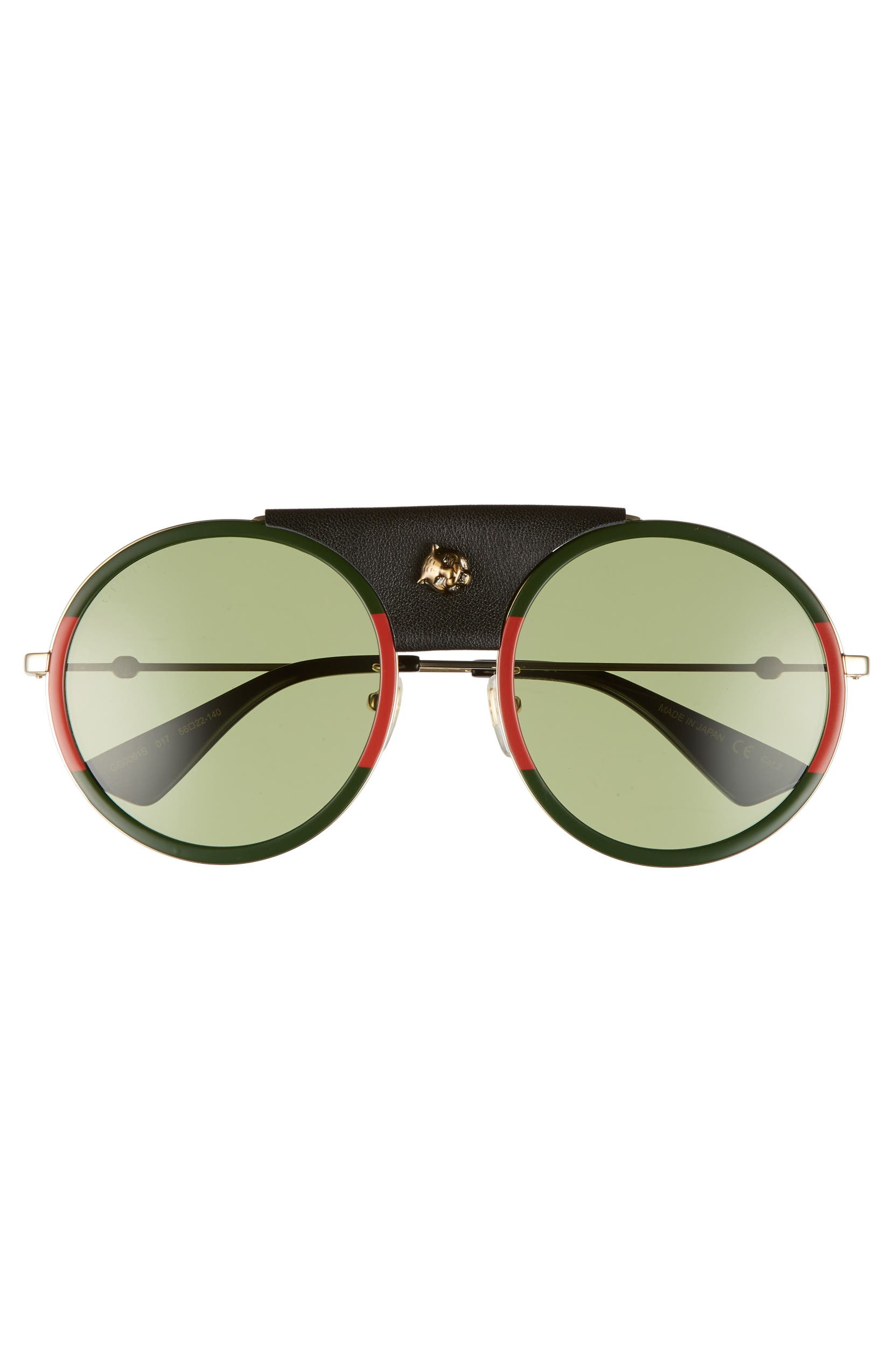 f697aef7b2 Gucci Web Block 56mm Round Sunglasses with Leather Wrap