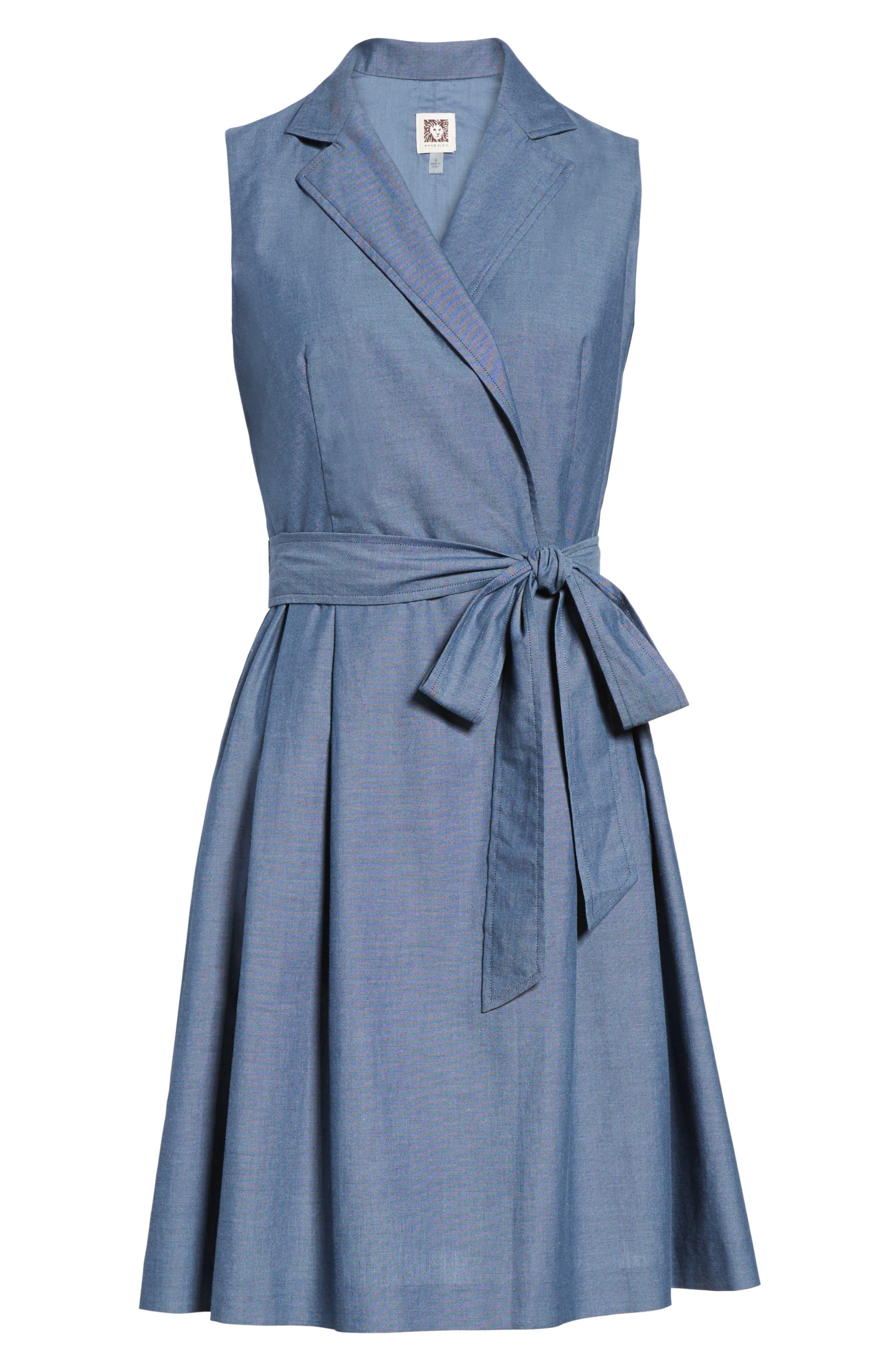 Denim Faux Wrap Dress,                             Alternate thumbnail 6, color,