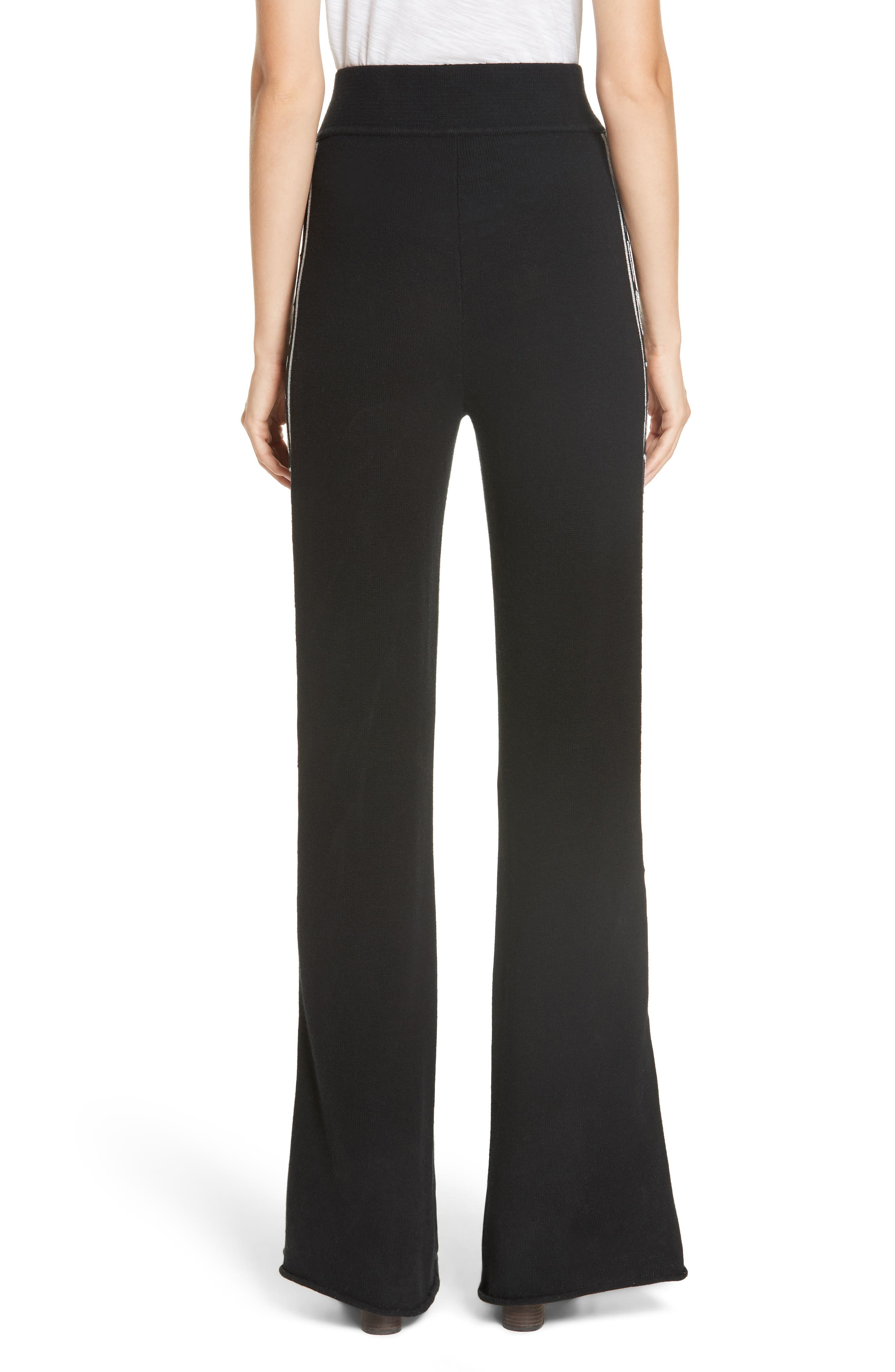 Metallic Knit Wool Blend Trousers,                             Alternate thumbnail 2, color,                             BLACK