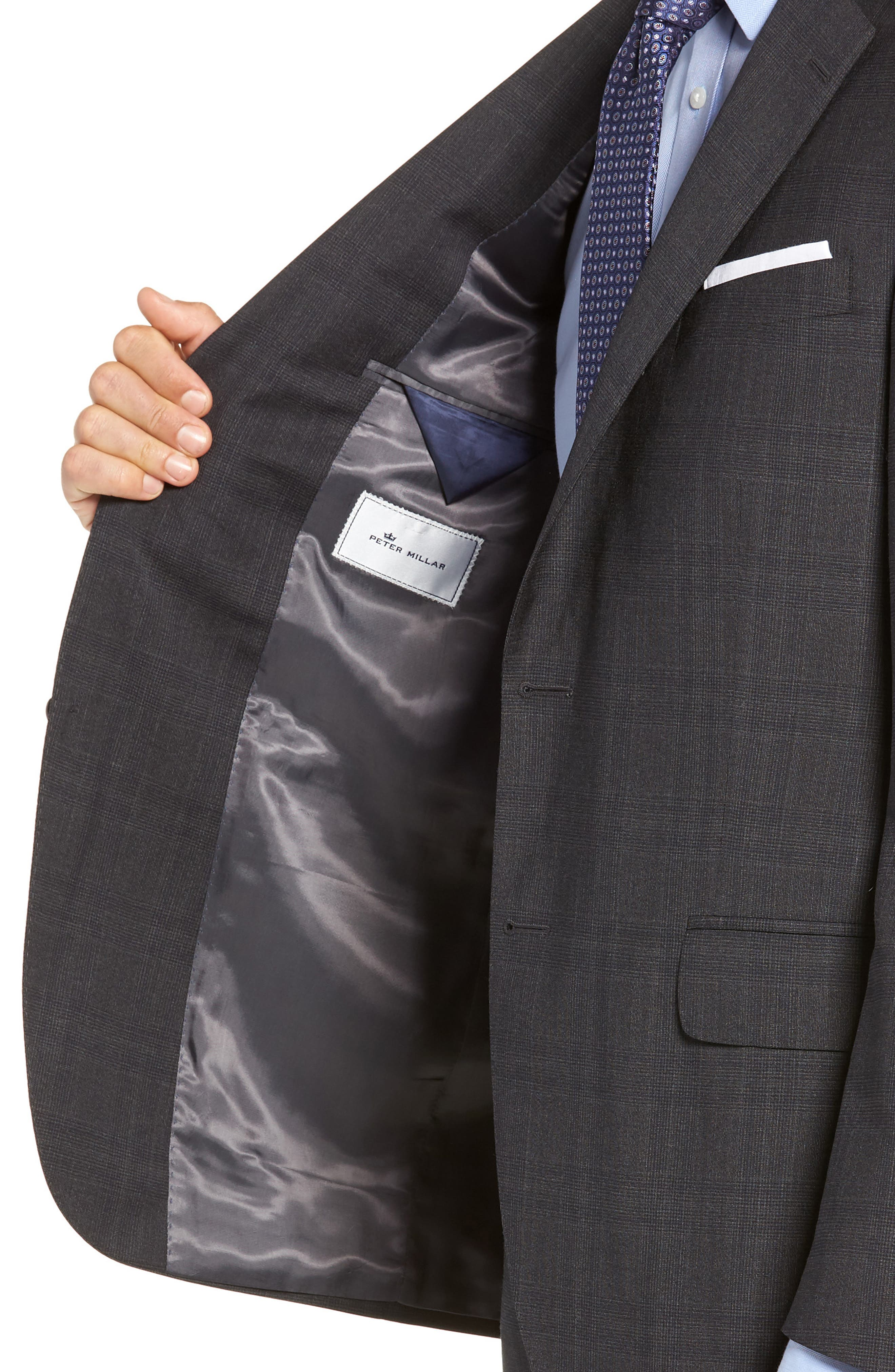 Flynn Classic Fit Plaid Wool Suit,                             Alternate thumbnail 4, color,                             CHARCOAL