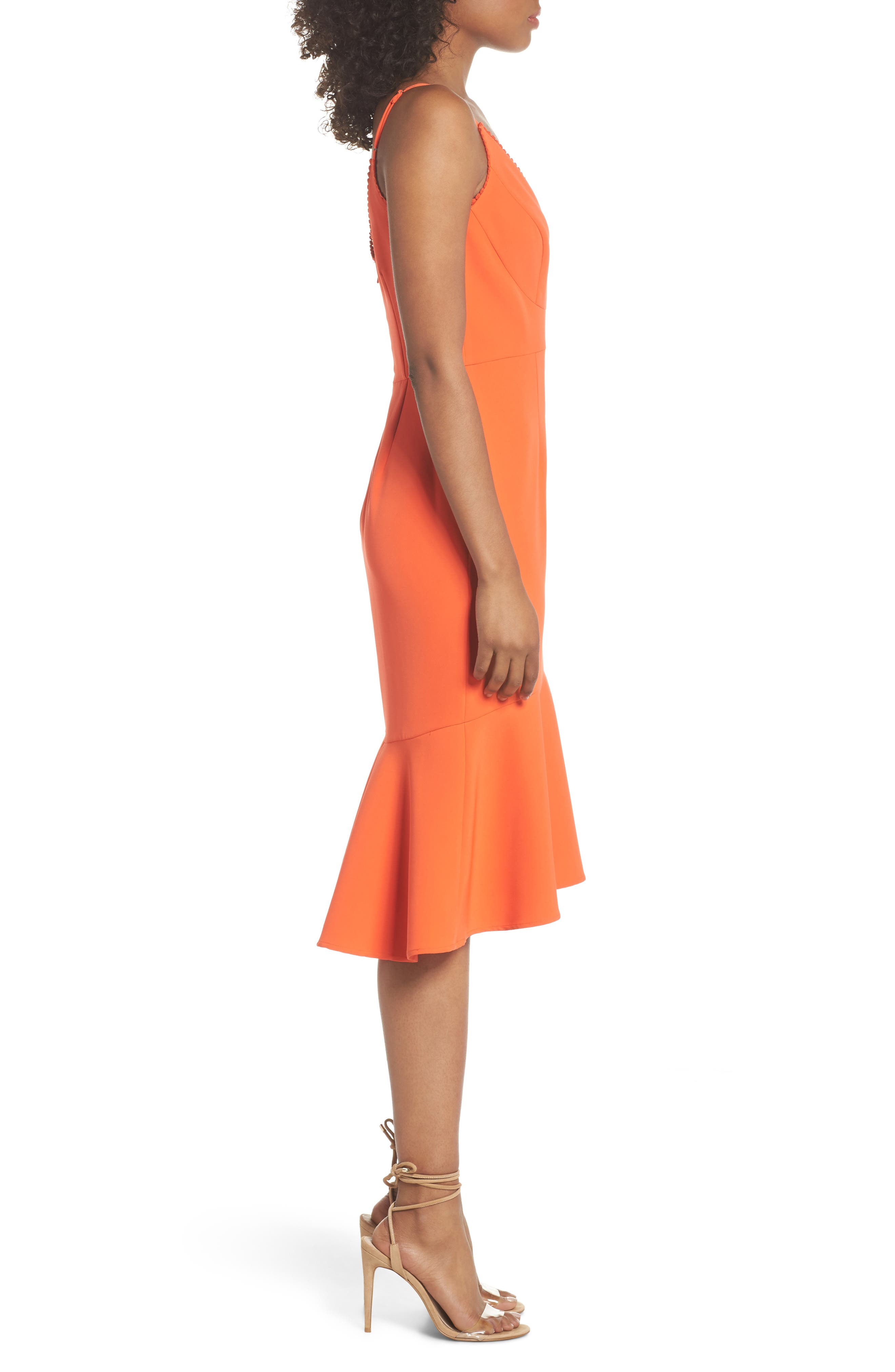 Flounce Hem Crepe Dress,                             Alternate thumbnail 3, color,