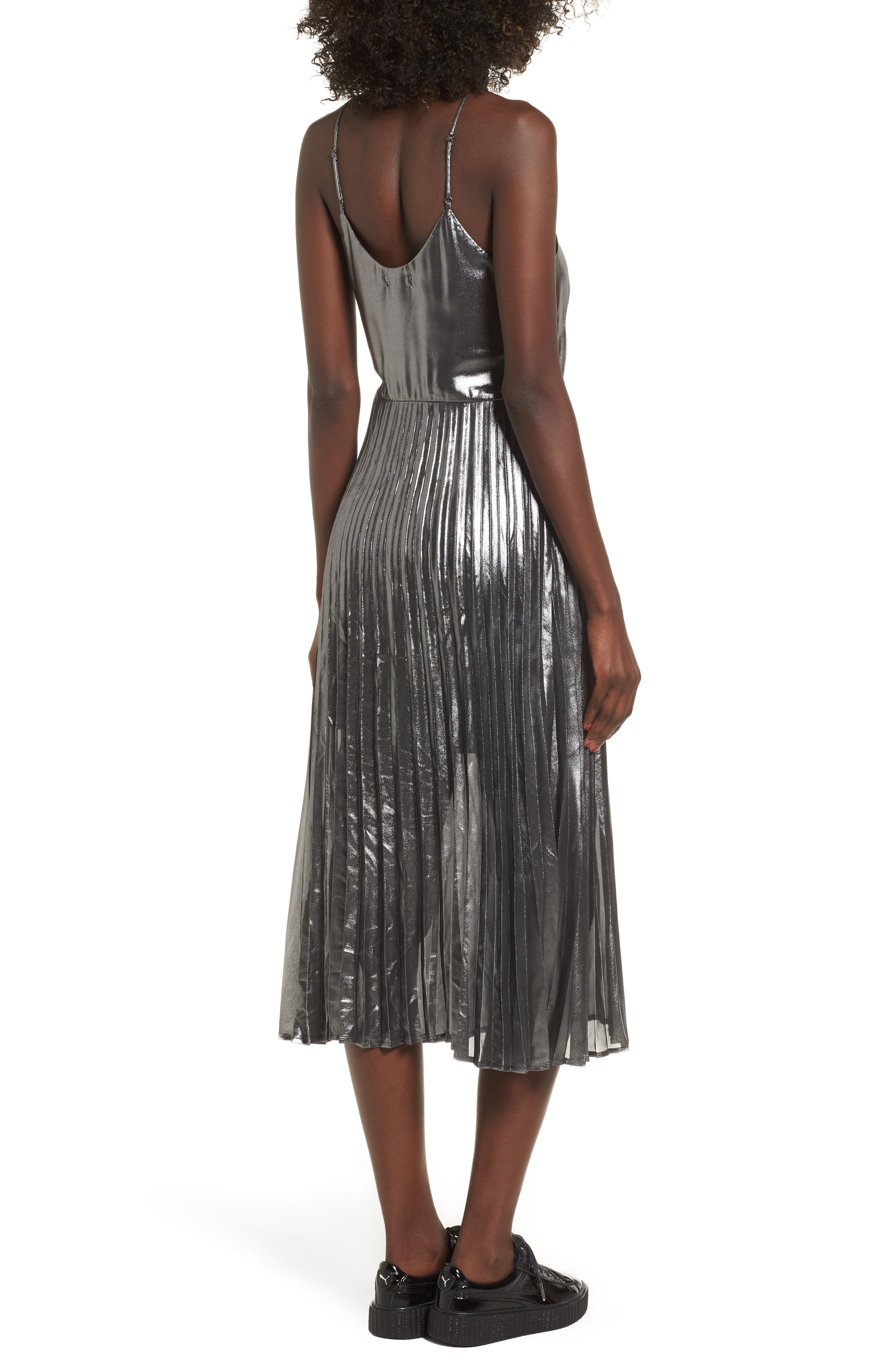 Metallic Pleated Midi Dress,                             Alternate thumbnail 2, color,                             001