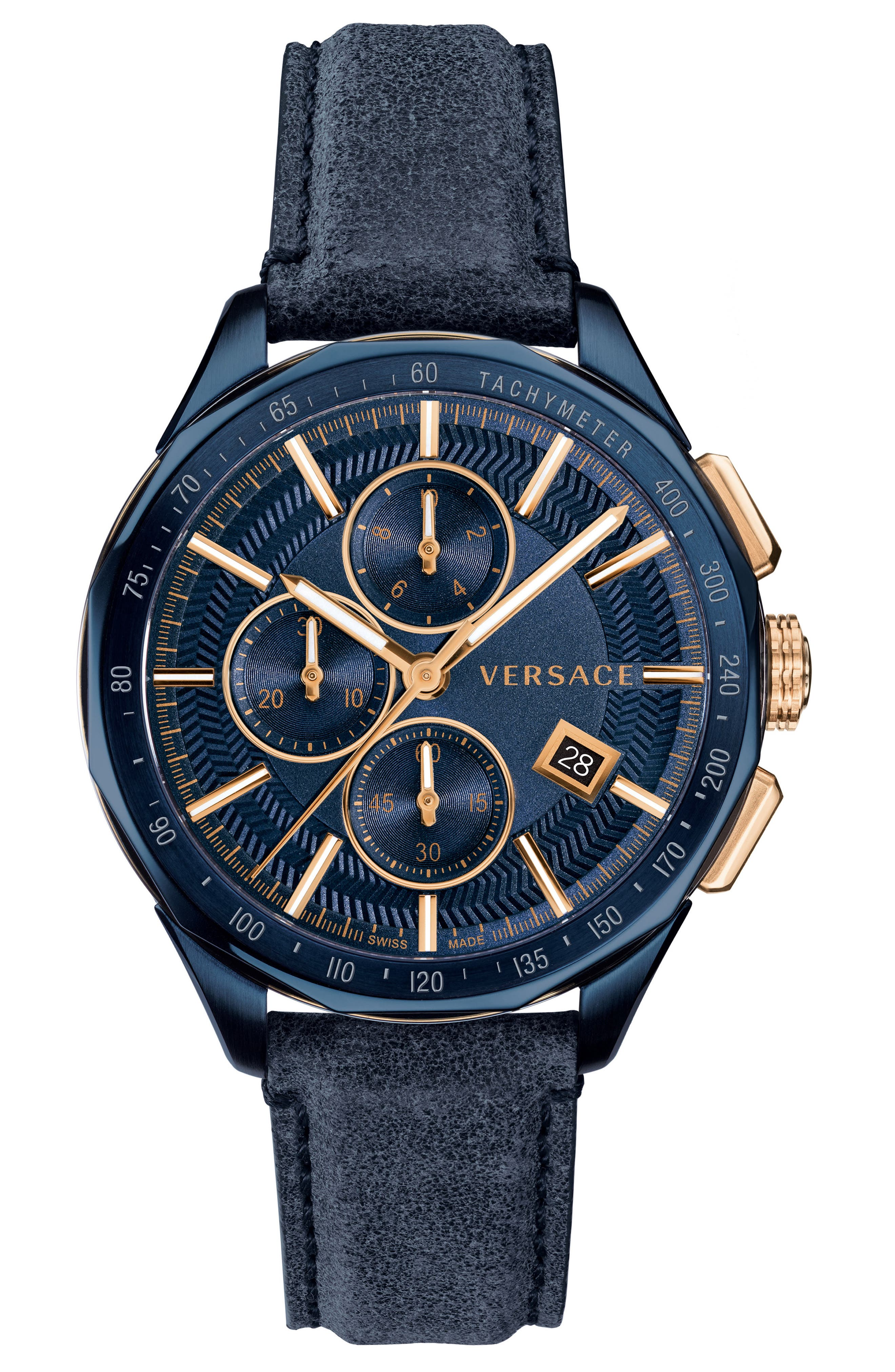VERSACE Glaze Chronograph Leather Strap Watch, 44mm, Main, color, BLUE