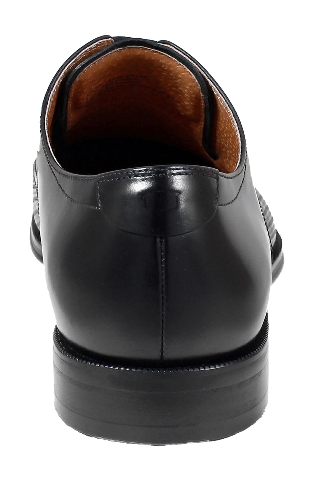 Belfast Embossed Cap Toe Derby,                             Alternate thumbnail 6, color,                             BLACK LEATHER