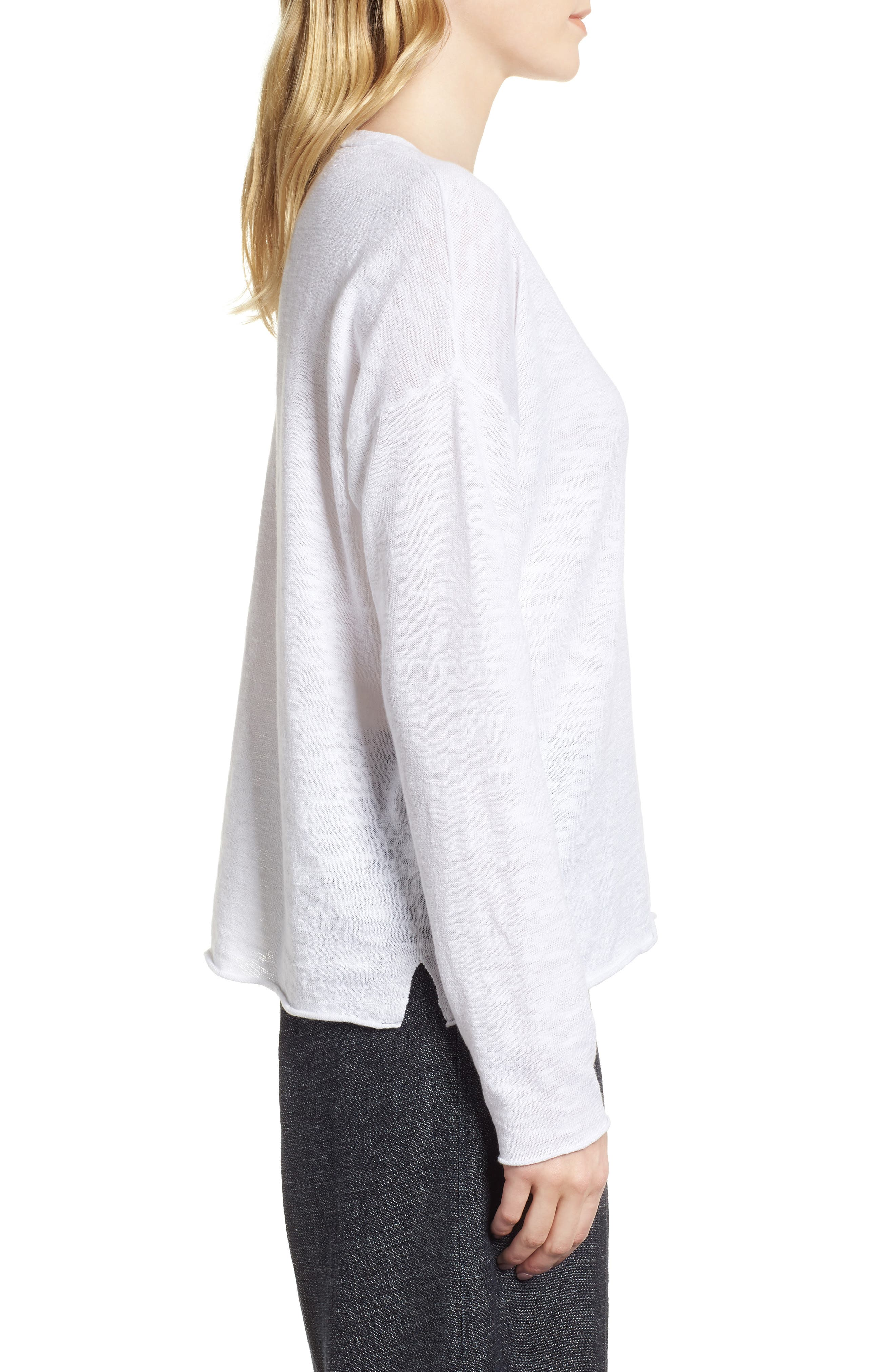 Boxy Organic Linen & Cotton Sweater,                             Alternate thumbnail 3, color,                             100