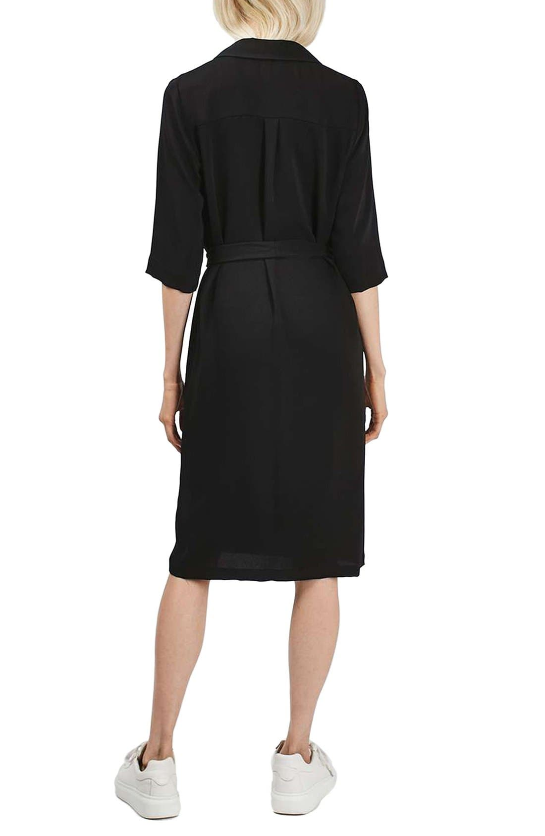 Double Breasted Wrap Midi Dress,                             Alternate thumbnail 2, color,                             001