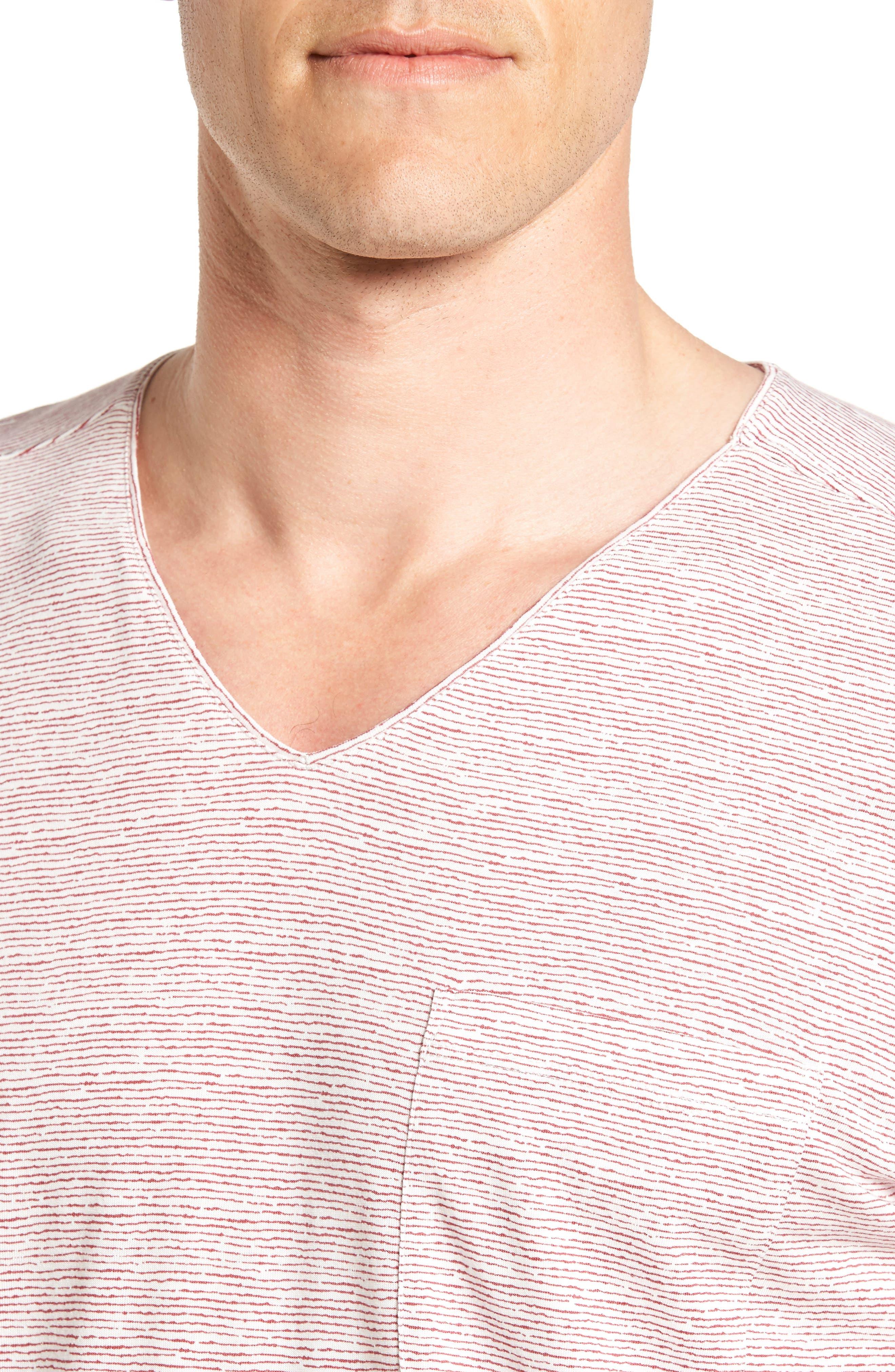 Feeder Stripe Pima Cotton & Modal V-Neck T-Shirt,                             Alternate thumbnail 12, color,