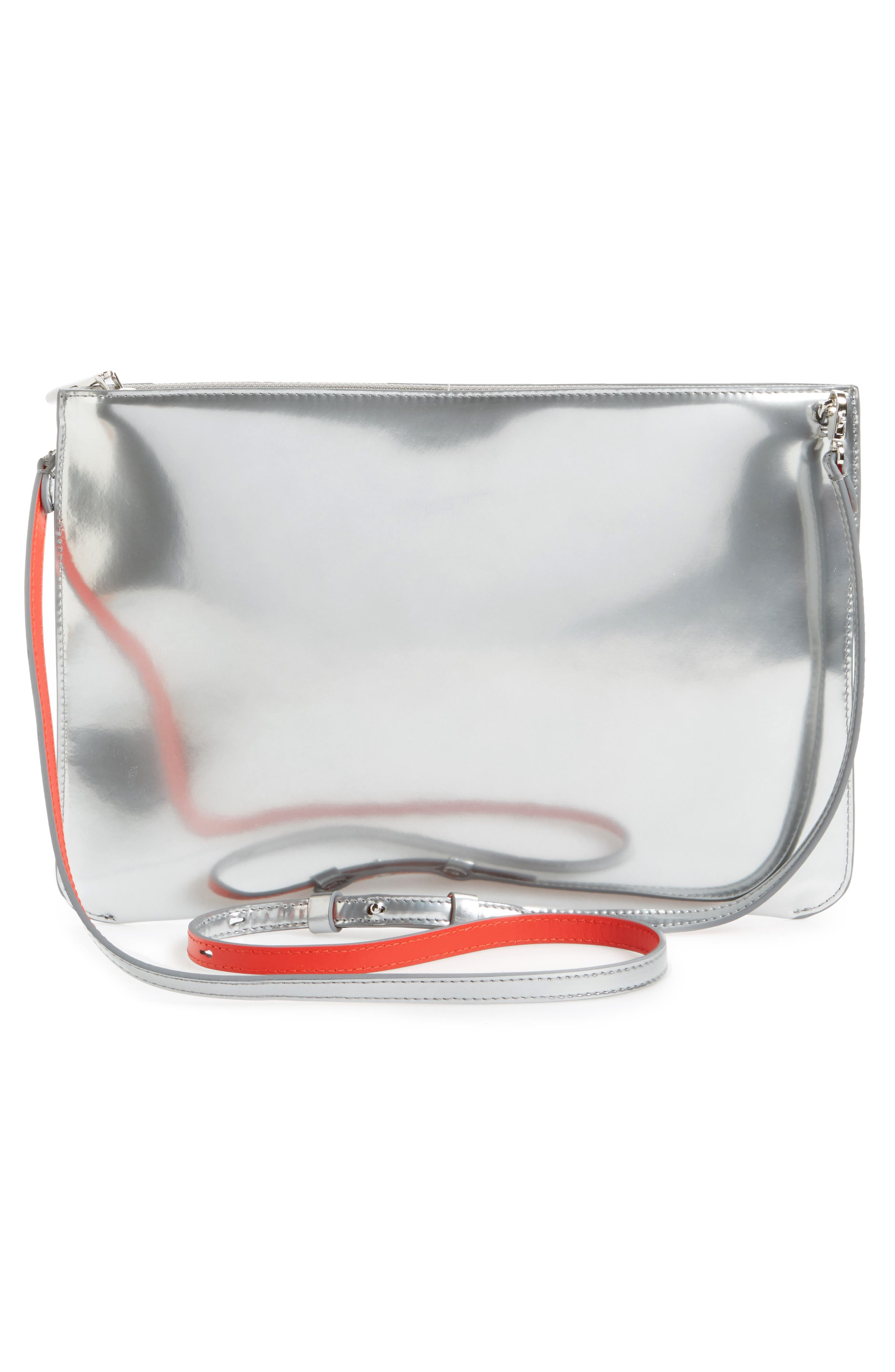 Loubiclutch Spiked Leather Clutch,                             Alternate thumbnail 3, color,                             040