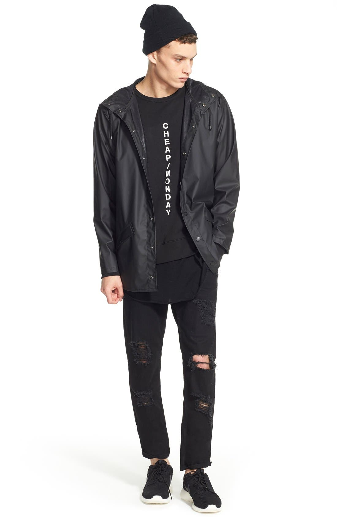 Lightweight Hooded Rain Jacket,                             Alternate thumbnail 8, color,                             BLACK