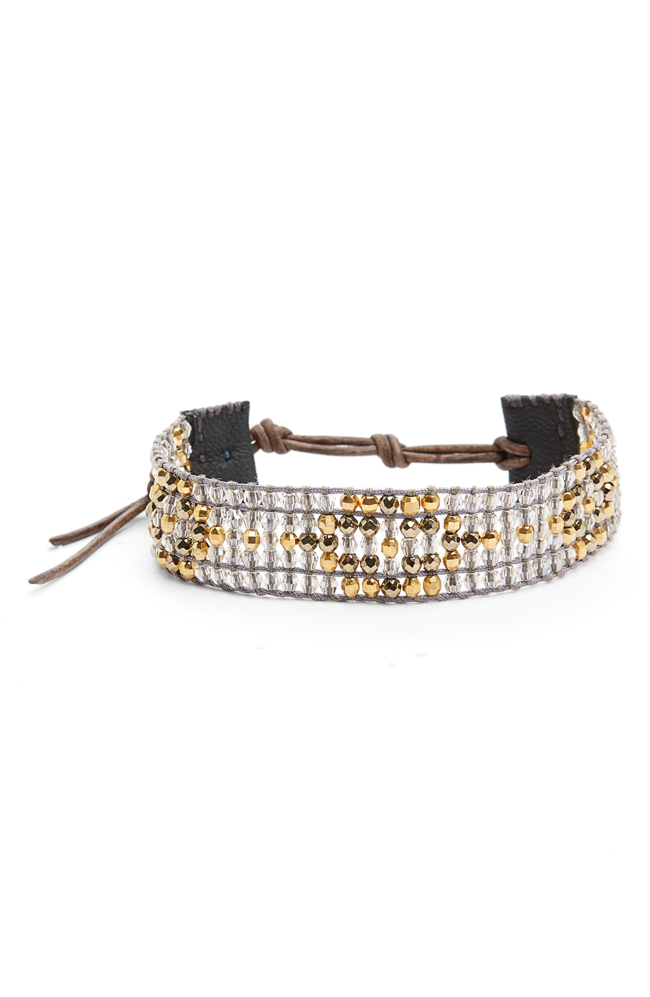 Pyrite Mix Adjustable Bracelet,                             Main thumbnail 1, color,                             040