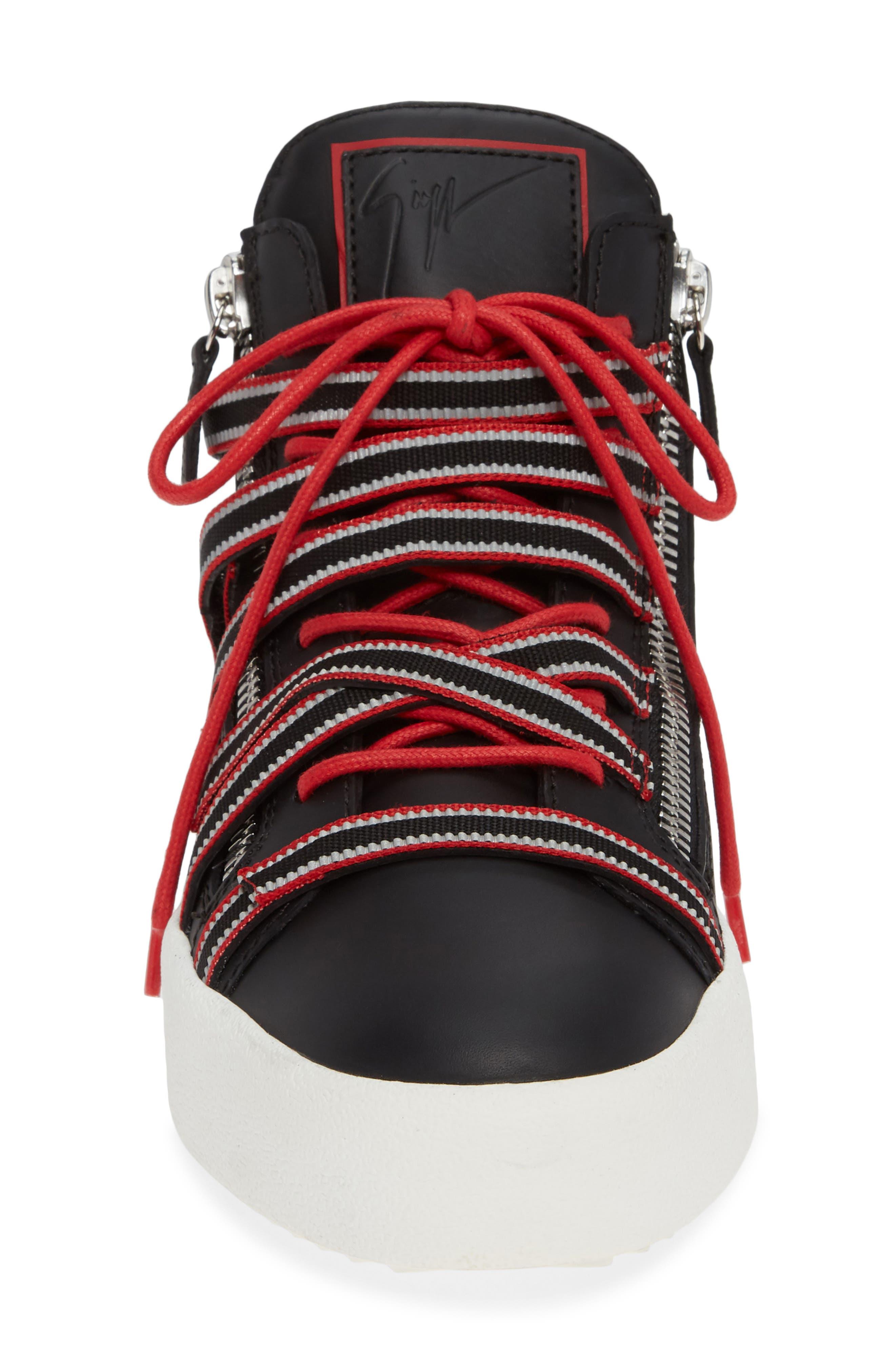 Multistrap Mid Top Sneaker,                             Alternate thumbnail 4, color,                             BLACK/ BLACK