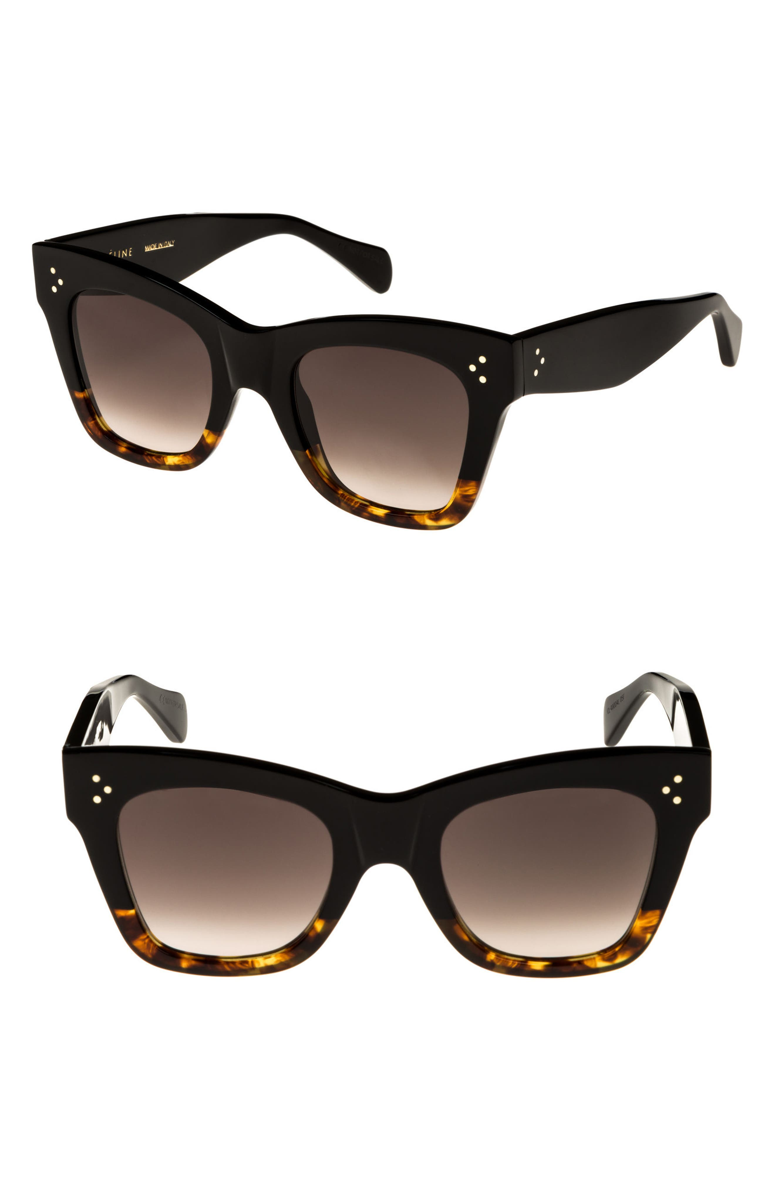 Celine 50Mm Gradient Butterfly Sunglasses - Black/ Havana