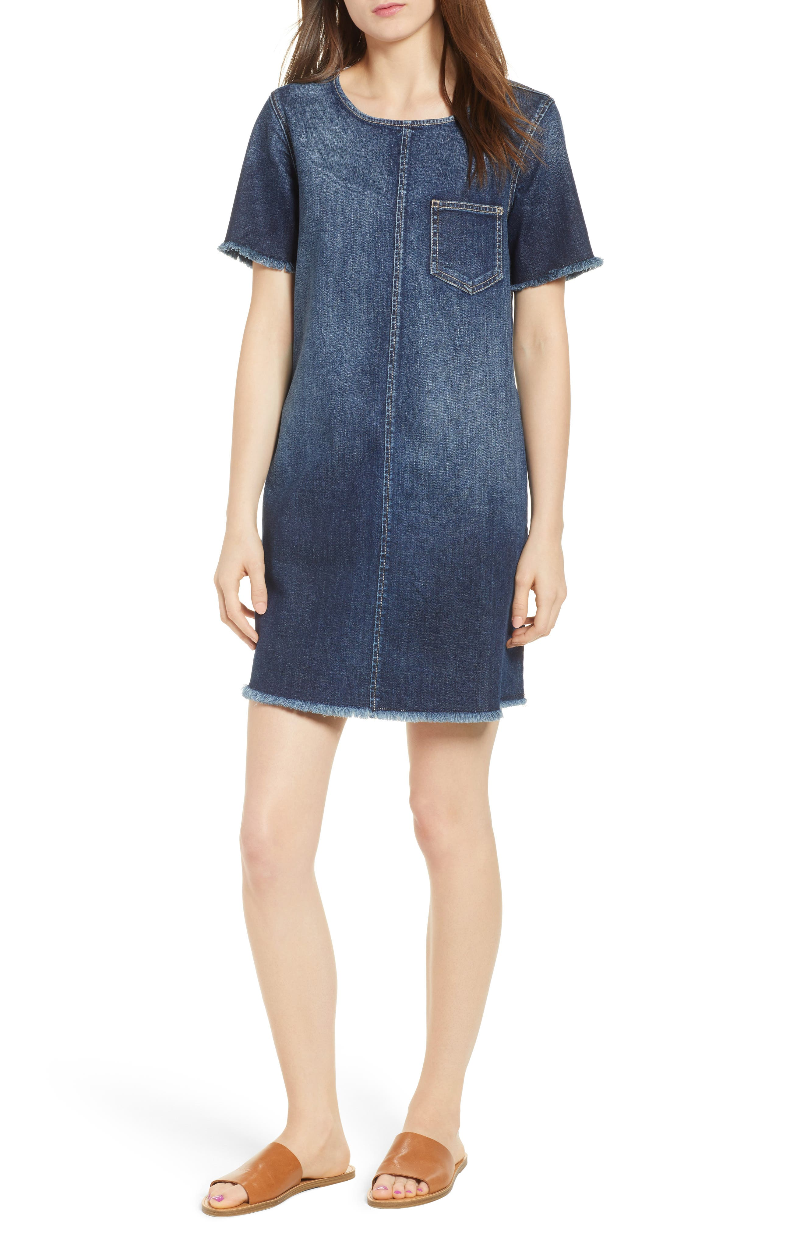 The Frayed Edge Denim Shift Dress,                         Main,                         color, 486