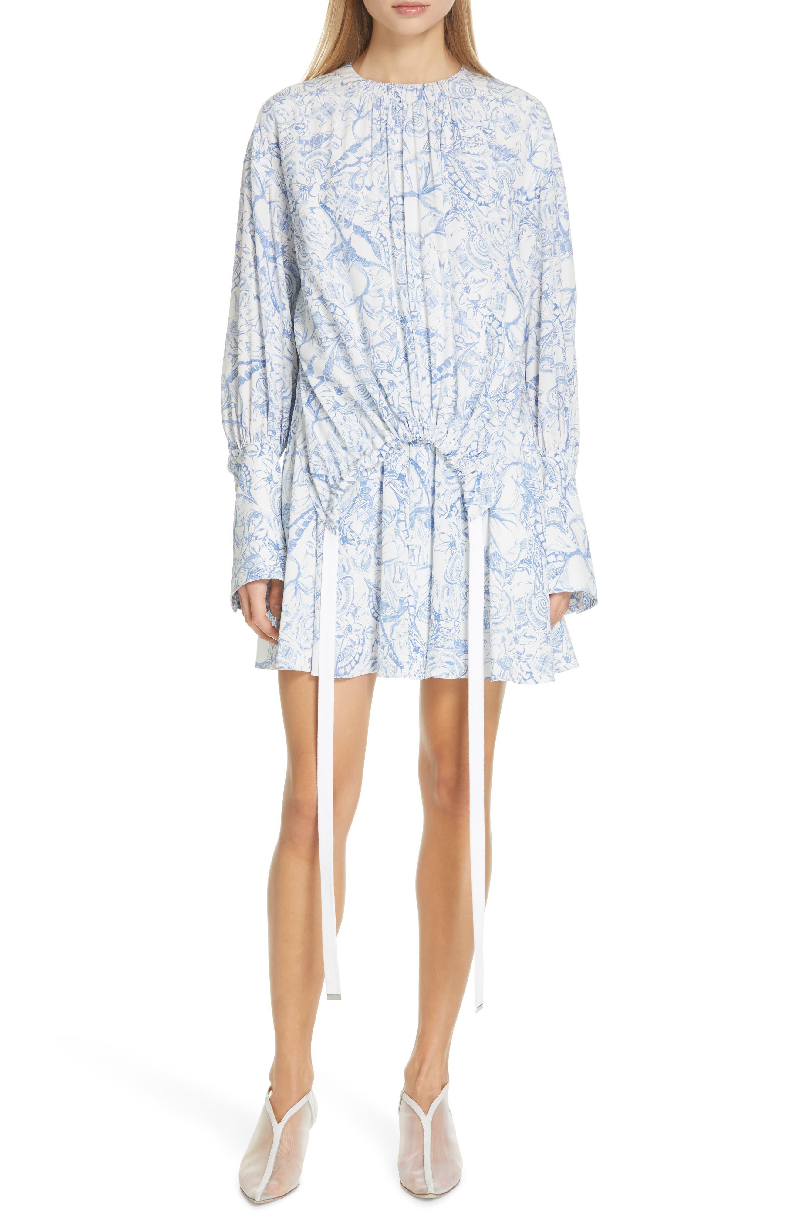 Tibi Isa Toile Print Cinch Waist Dress, White