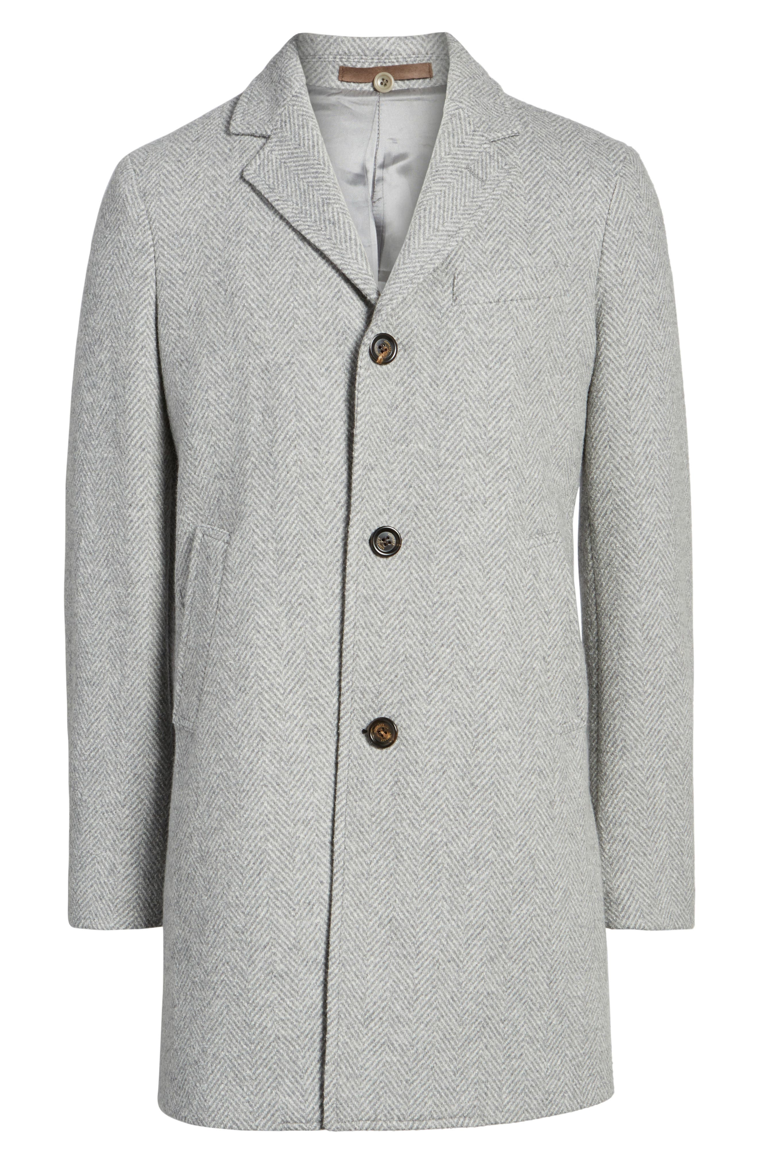 Herringbone Wool Blend Overcoat,                             Alternate thumbnail 5, color,