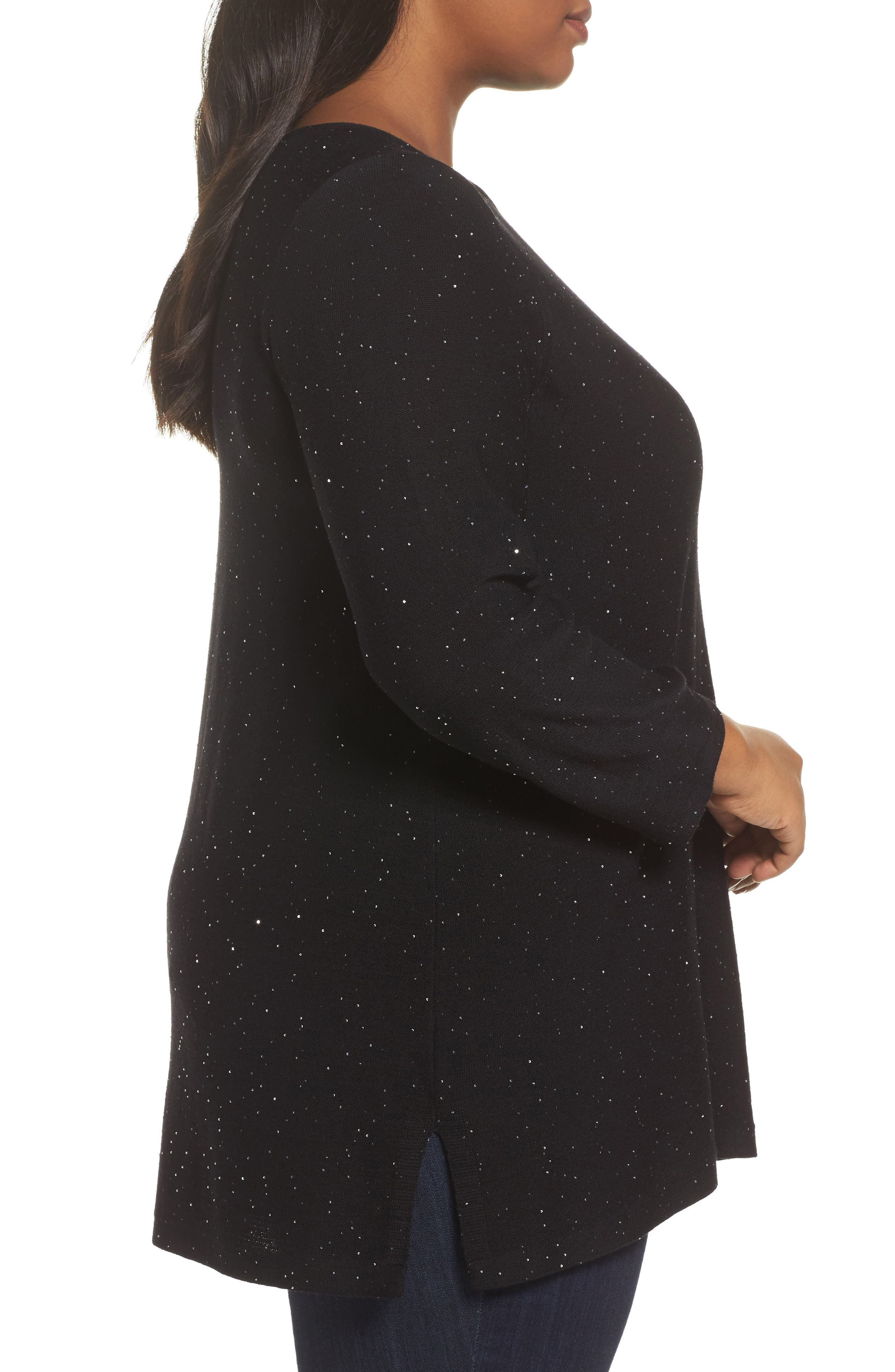 Sequin Merino Wool Tunic Sweater,                             Alternate thumbnail 3, color,                             001
