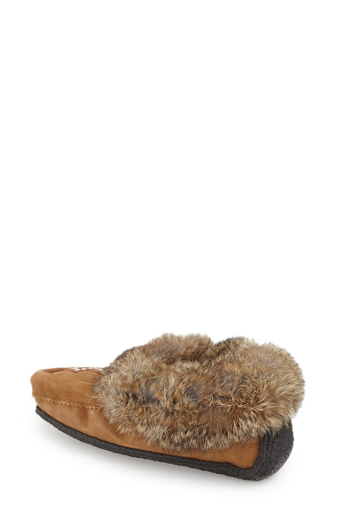 Genuine Shearling and Rabbit Fur Mukluk Slipper,                             Alternate thumbnail 2, color,                             OAK RABBIT FUR SUEDE