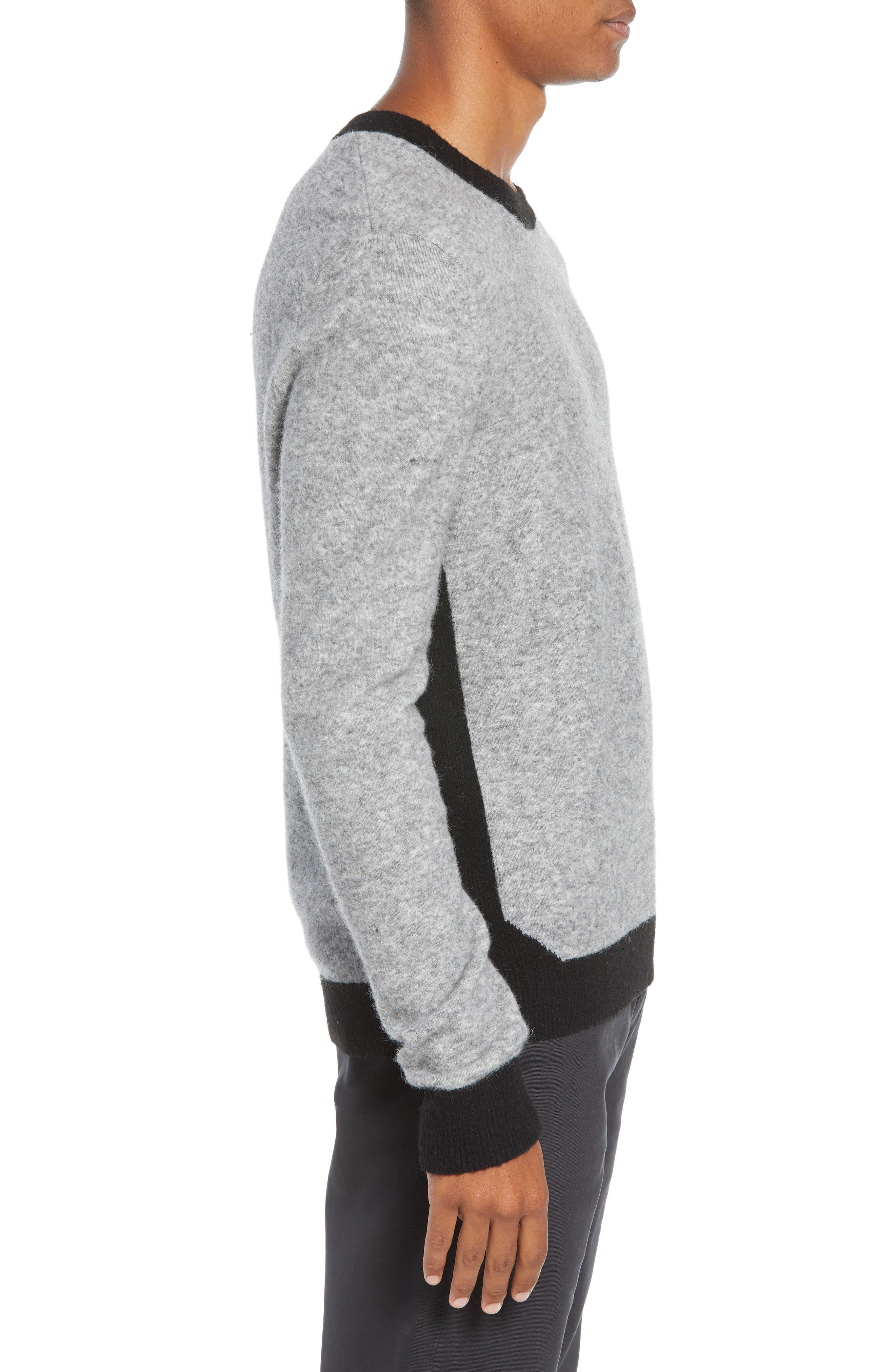 Clermont Slim Fit Crewneck Sweater,                             Alternate thumbnail 3, color,                             LIGHT HEATHER GREY