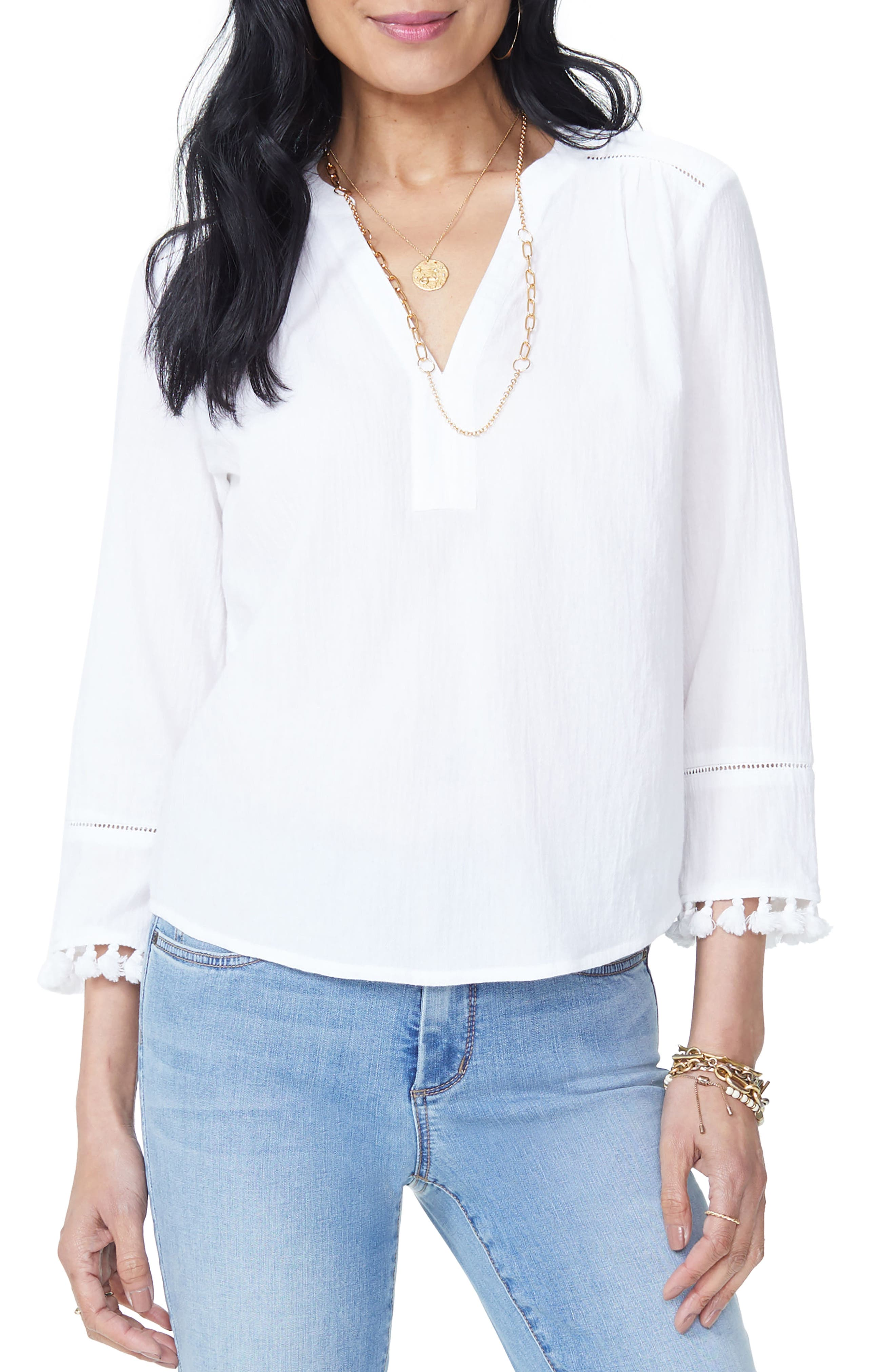 Tassel Sleeve Cotton Top,                         Main,                         color,