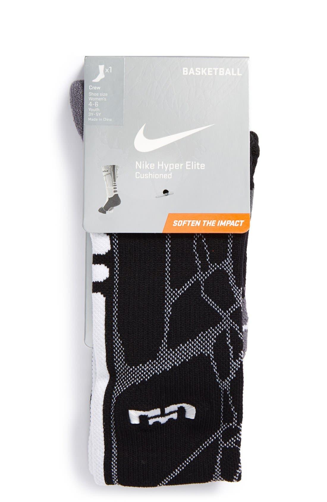 'LeBron - Hyper Elite' Cushioned Basketball Crew Socks,                             Alternate thumbnail 3, color,                             001